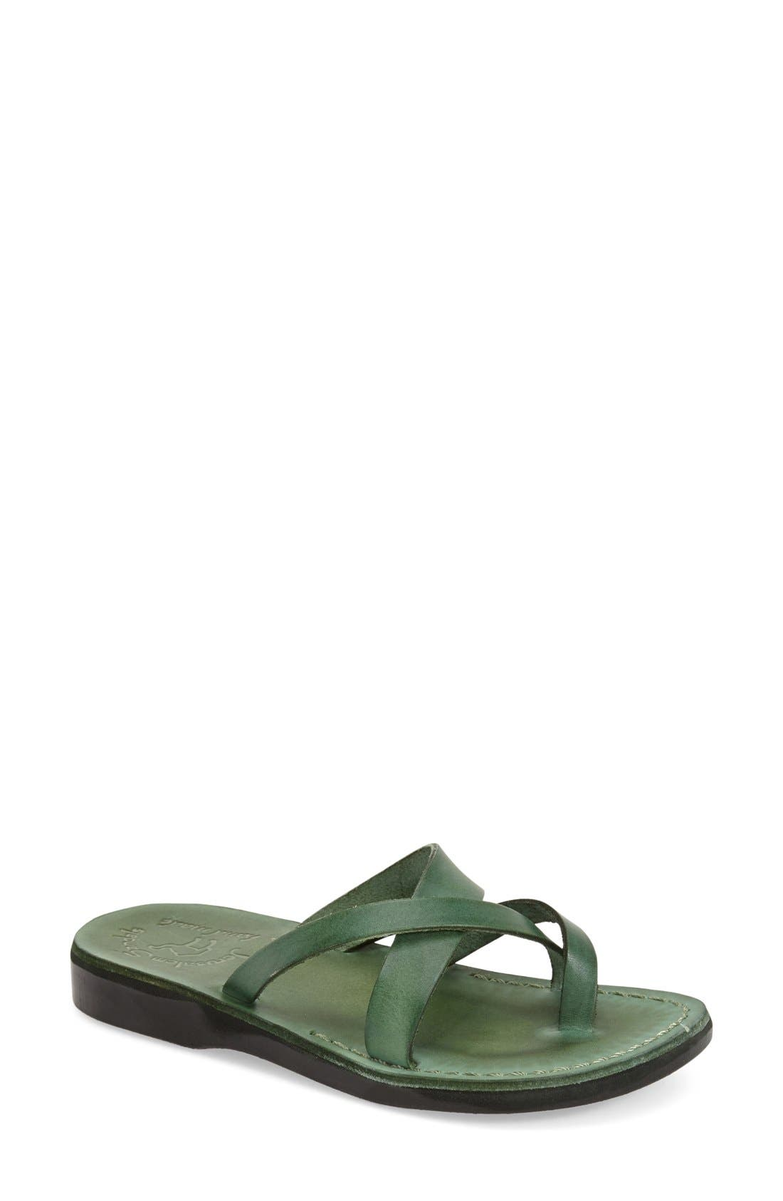 'Abigail' Strappy Slide Sandal,                             Main thumbnail 1, color,                             Green Leather