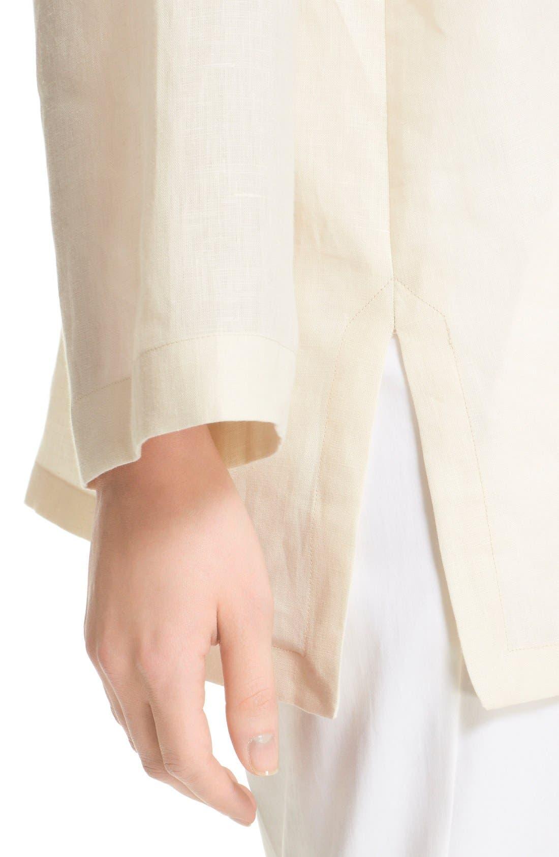 'Picchio' Linen Blouse,                             Alternate thumbnail 5, color,                             Beige