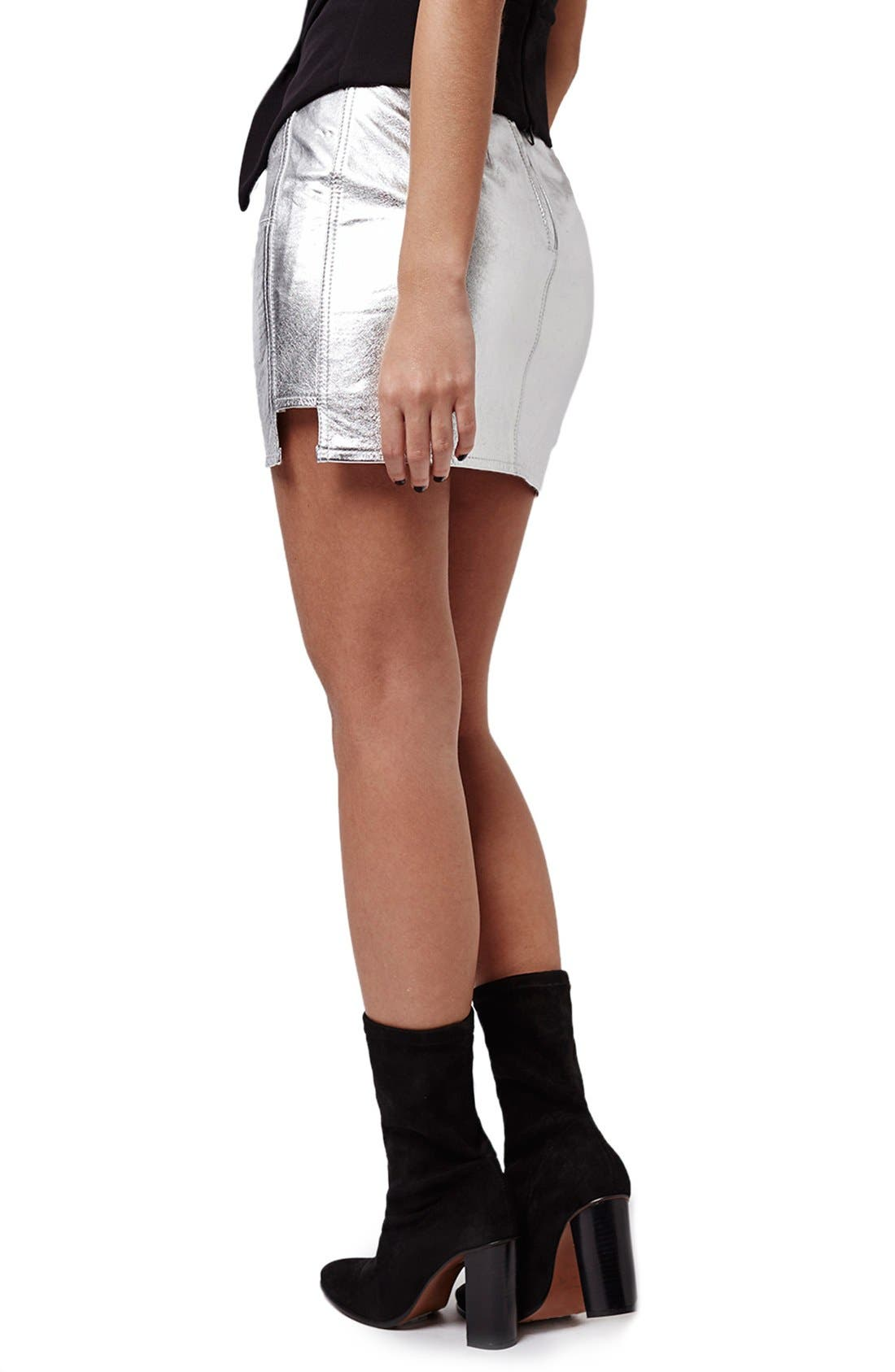 Alternate Image 3  - KENDALL + KYLIE at Topshop Metallic Leather Miniskirt