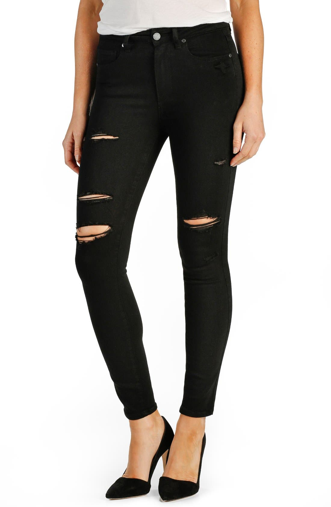Main Image - PAIGE 'Transcend - Hoxton' High Rise Destroyed Ankle Ultra Skinny Jeans (Black Shadow)
