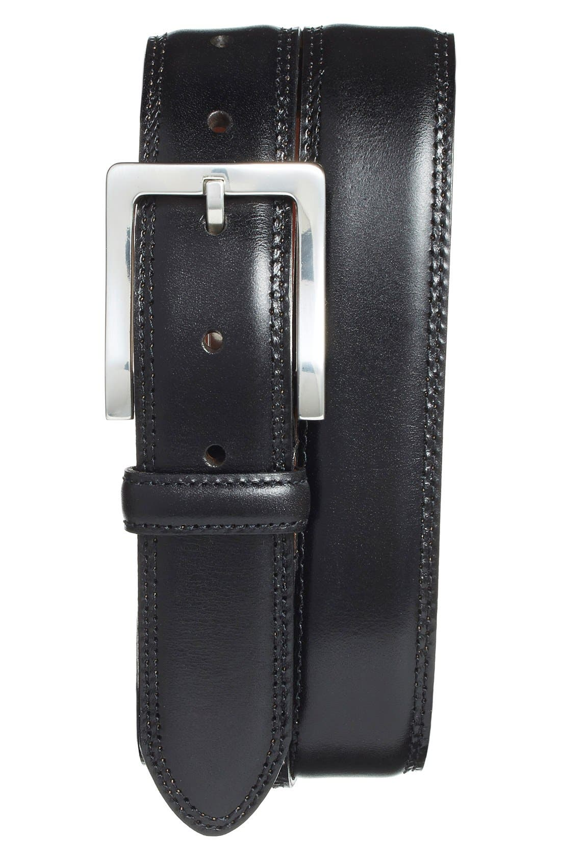 Bosca Double Stitch Leather Belt