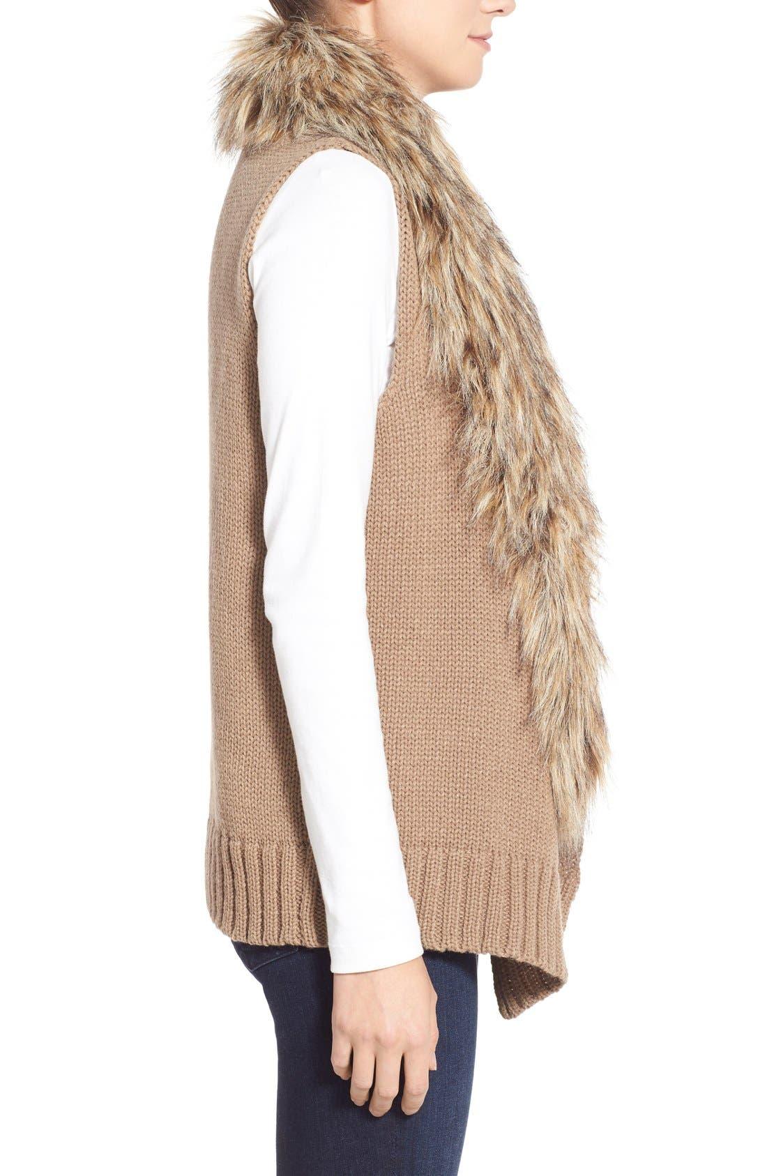 Alternate Image 4  - BB Dakota 'Sadi' Faux Fur Trim Knit Vest