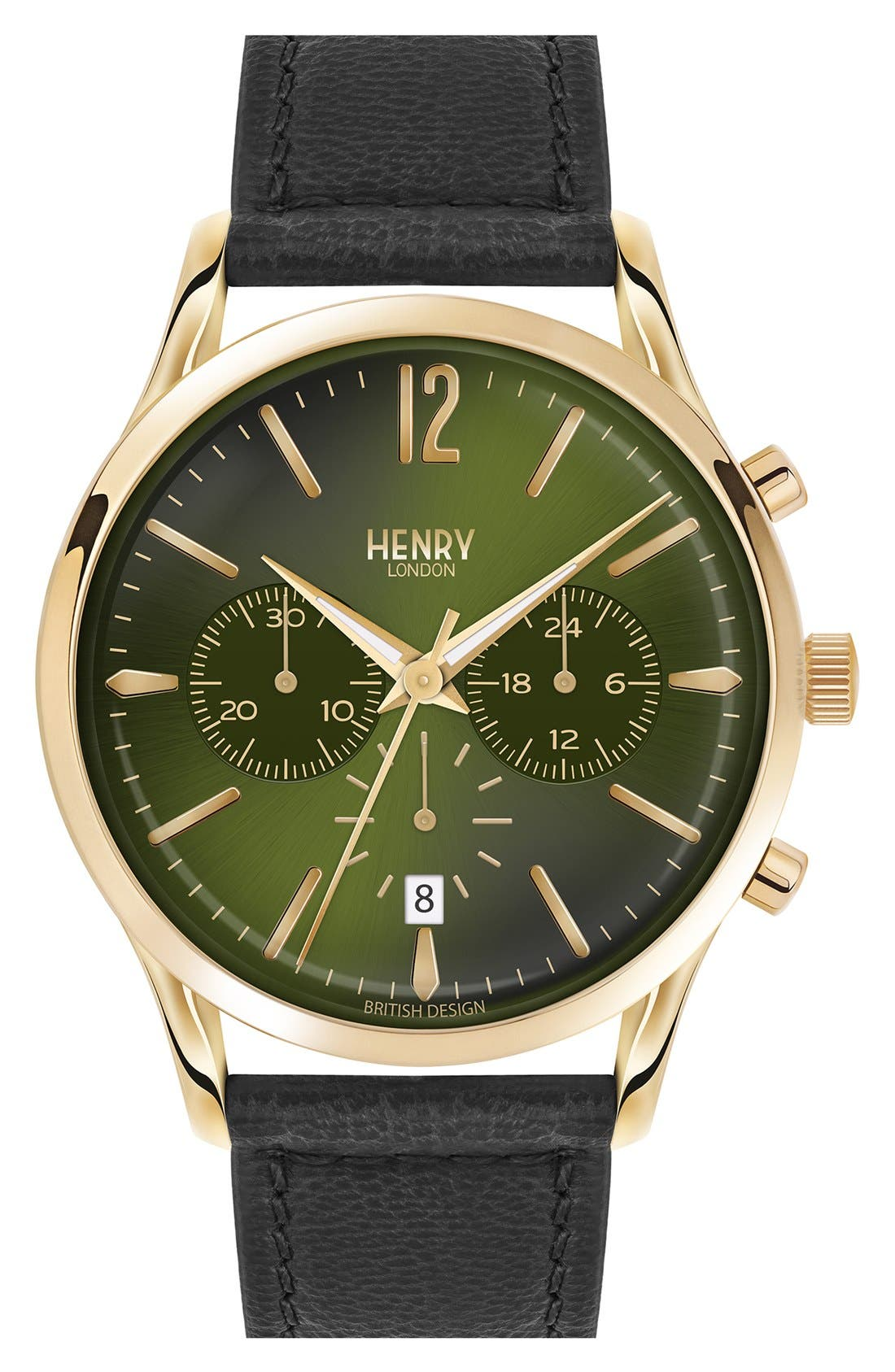 HENRY LONDON 'Chiswick' Chronograph Leather Strap Watch, 41Mm in Black/ Rich Green
