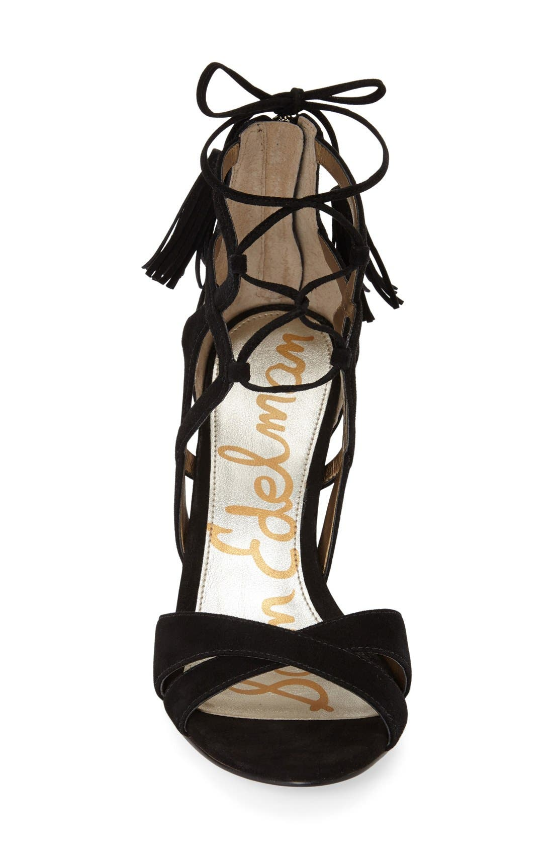 'Azela' Tasseled Lace-Up Sandal,                             Alternate thumbnail 3, color,                             Black Suede