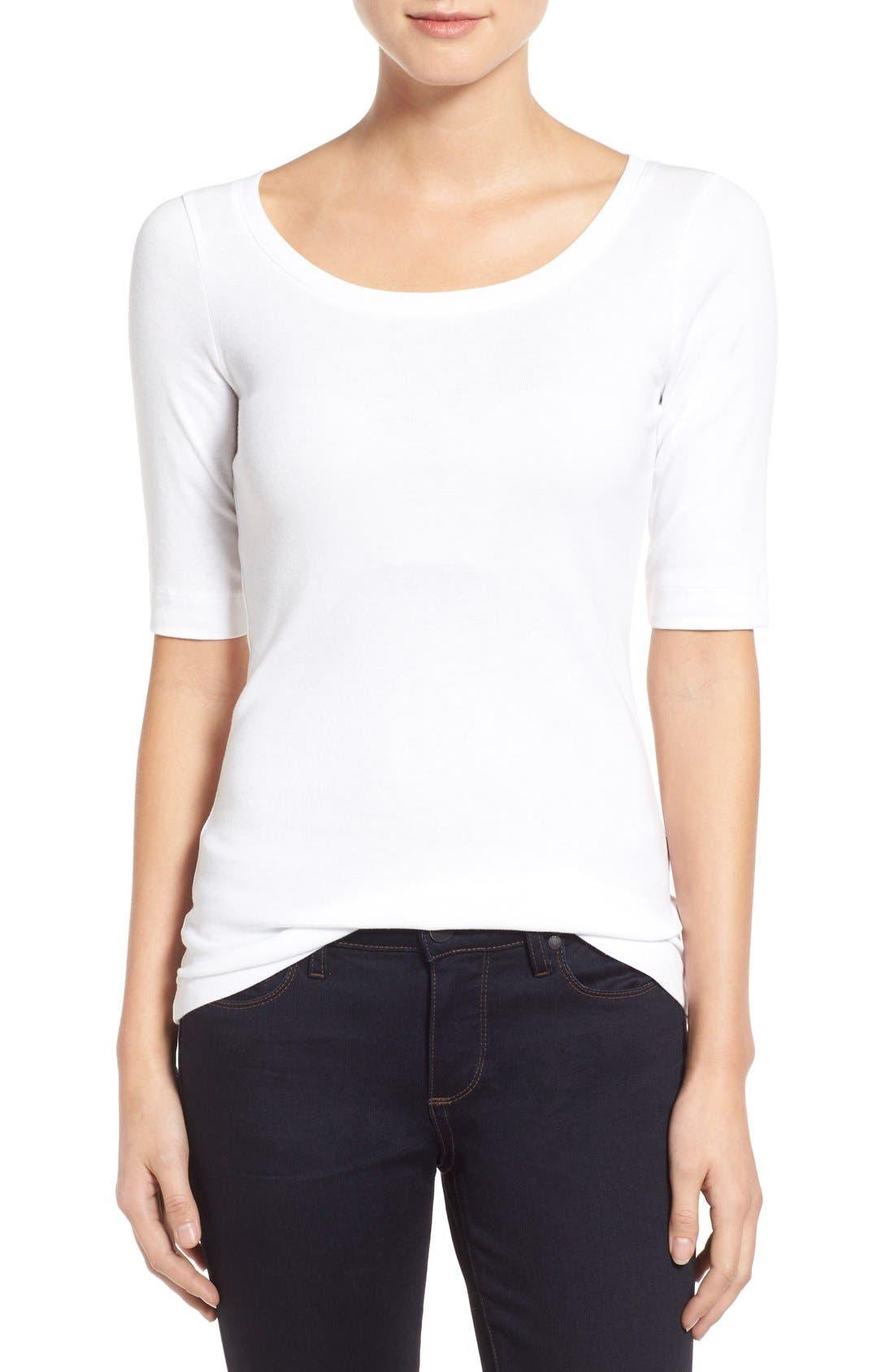 Caslon® Ballet Neck Cotton & Modal Knit Elbow Sleeve Tee (Regular & Petite)