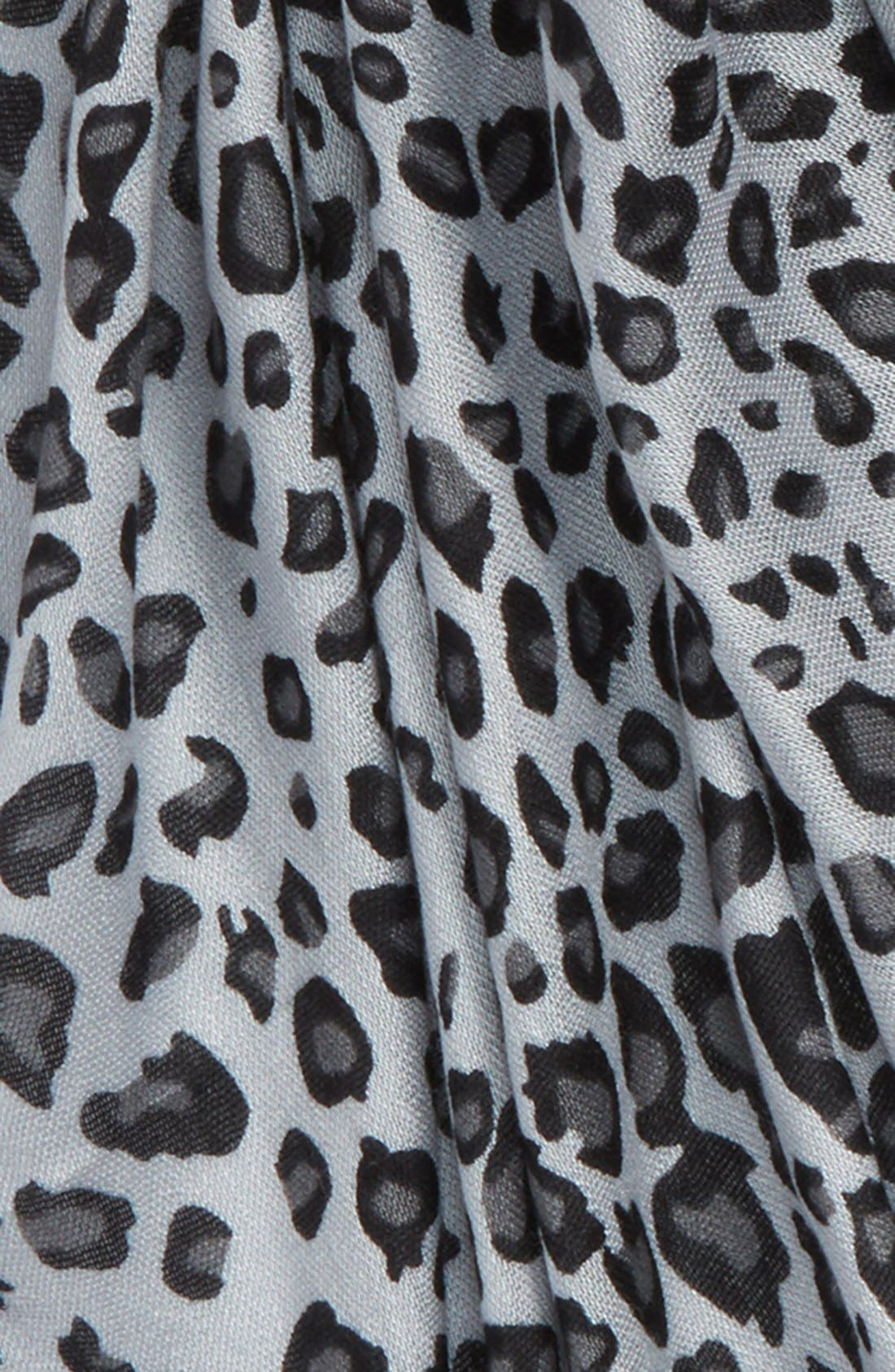 Leopard Print Scarf,                             Alternate thumbnail 3, color,                             Grey