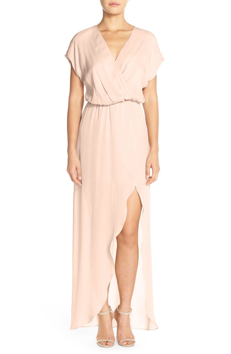 Plaza Faux Wrap Silk Georgette Cutaway Gown