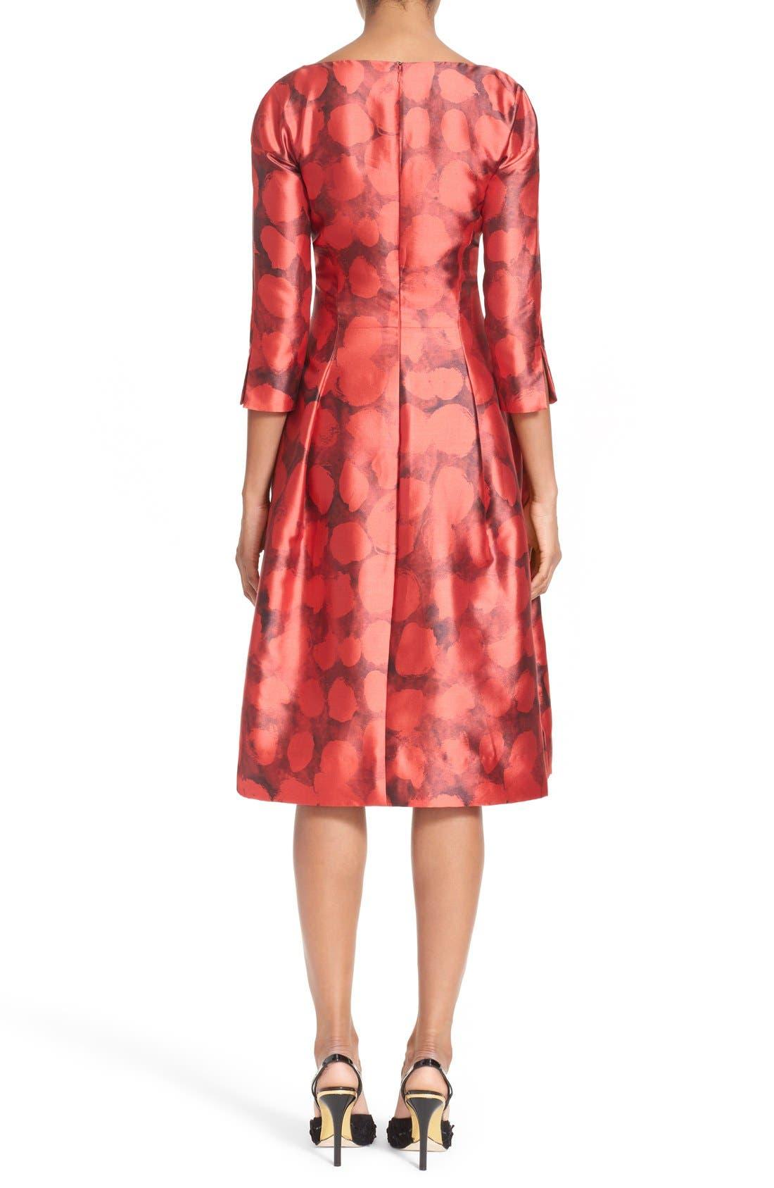 Alternate Image 2  - Oscar de la Renta Dot Print Silk & Cotton Dress