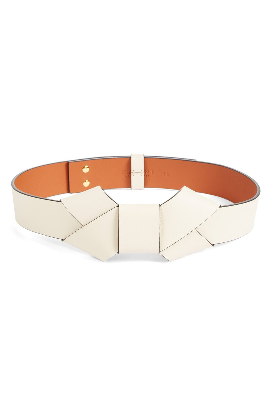 Alternate Image 1 Selected - Marni Lambskin Leather Bow Belt