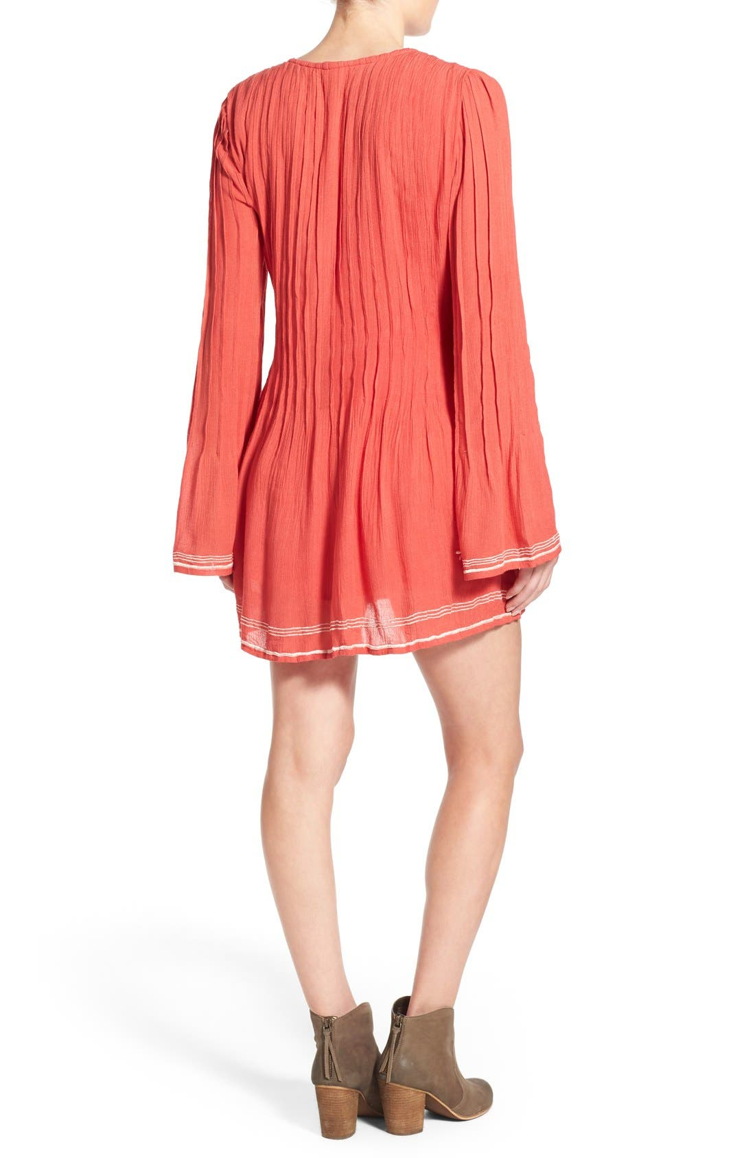 'Audrey' Embroidered Tunic Dress,                             Alternate thumbnail 3, color,                             Watermelon