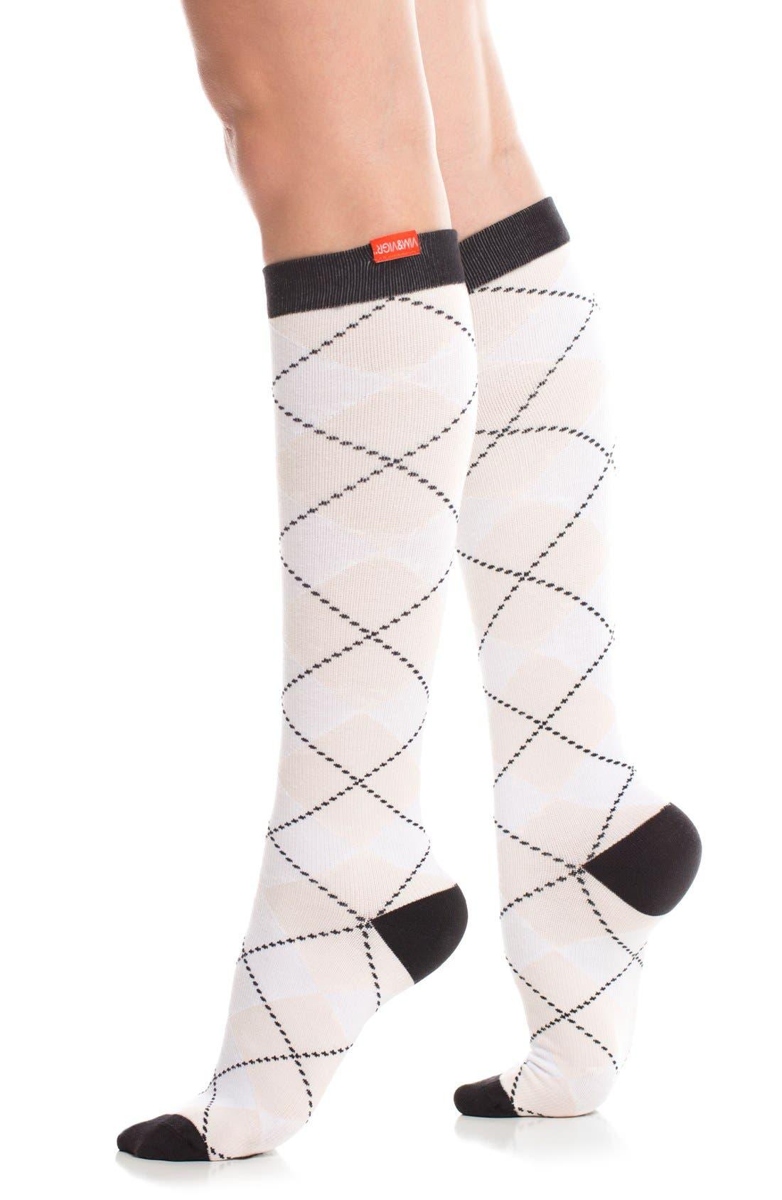 Argyle Graduated Compression Trouser Socks,                         Main,                         color, White/ Blush