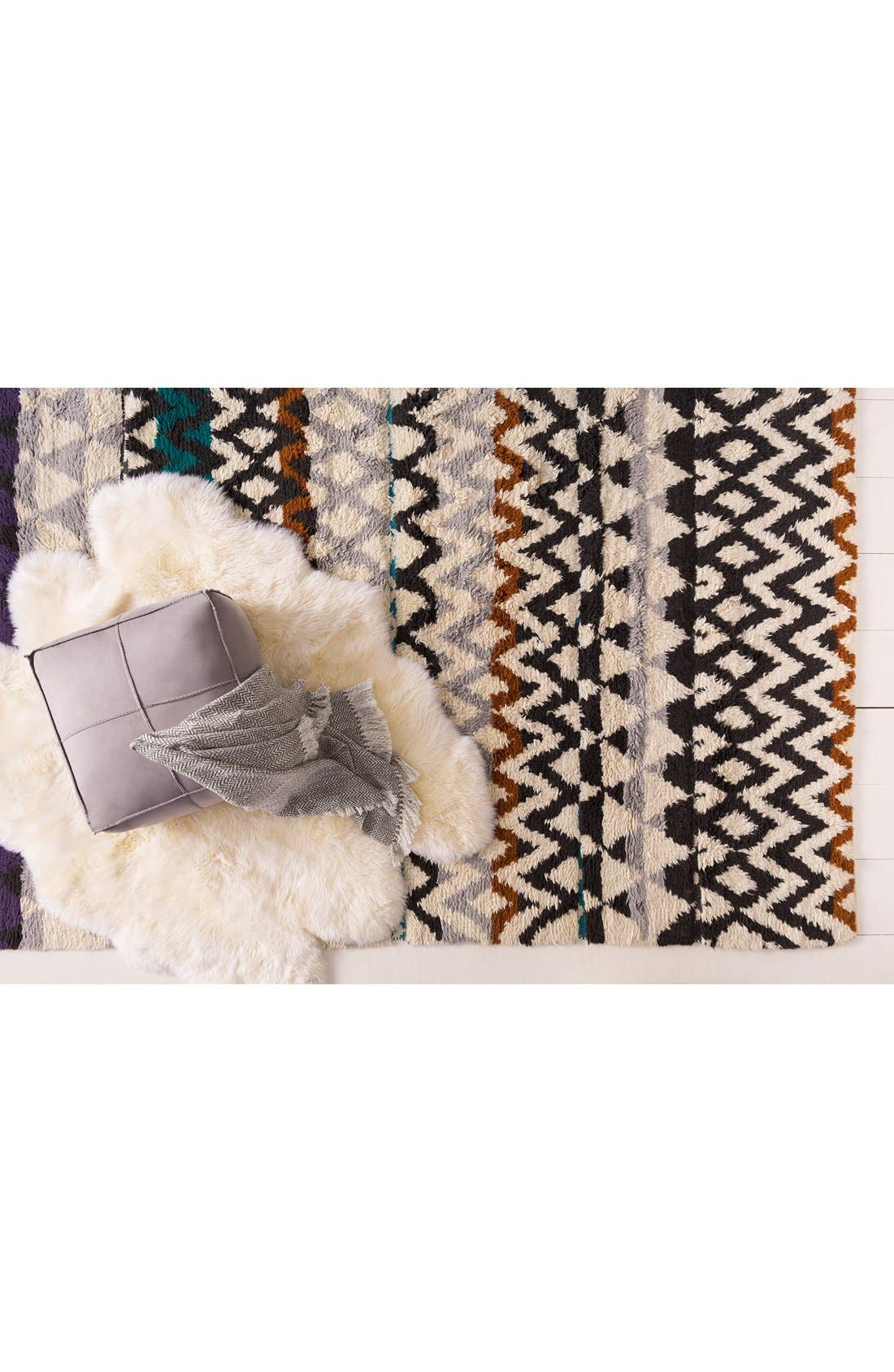 'Atticus' Hand Woven Wool Rug,                             Alternate thumbnail 3, color,                             Violet/ Charcoal Multi