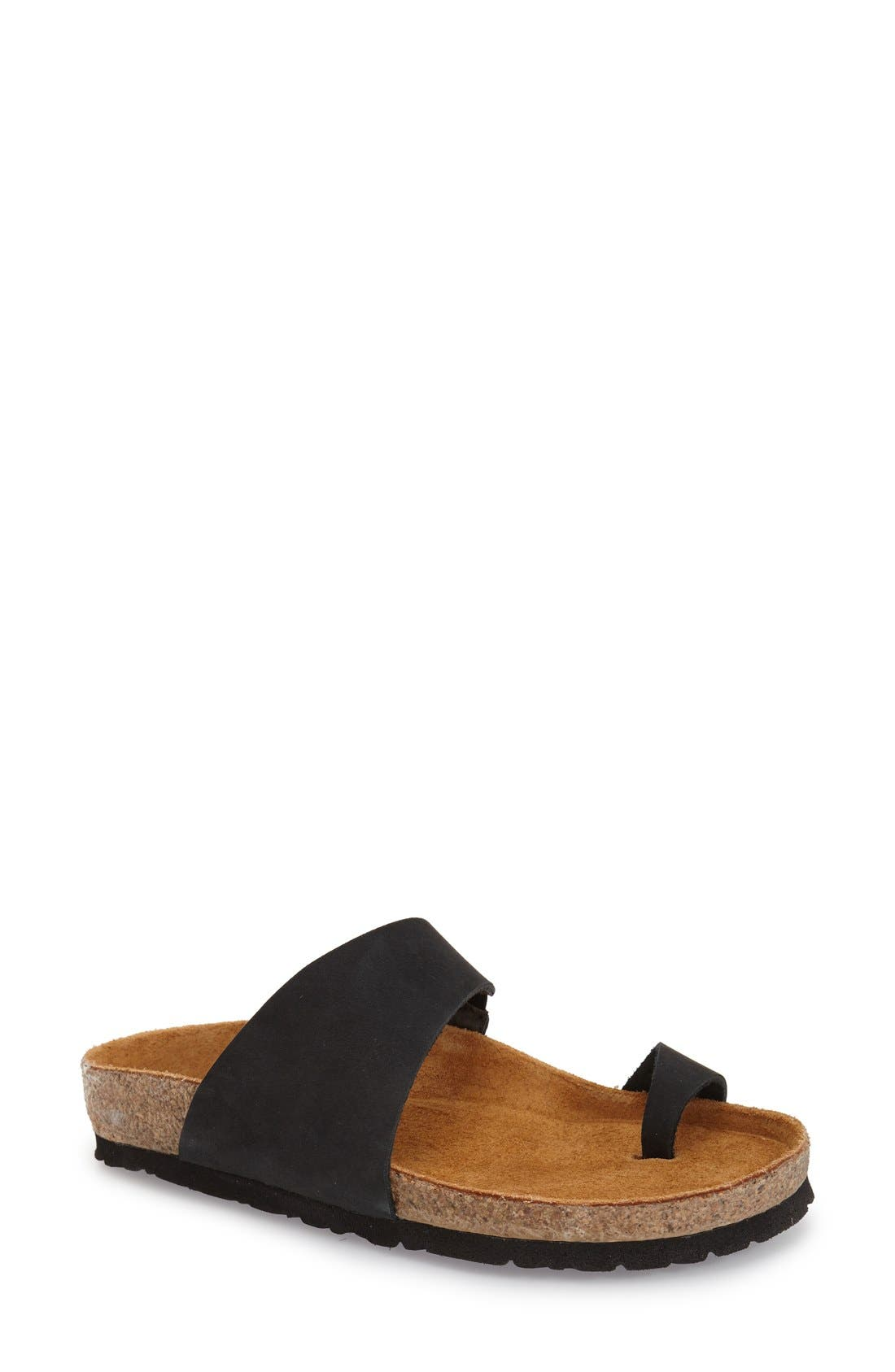 'Santa Fe' Sandal,                             Main thumbnail 1, color,                             Black Nubuck Leather