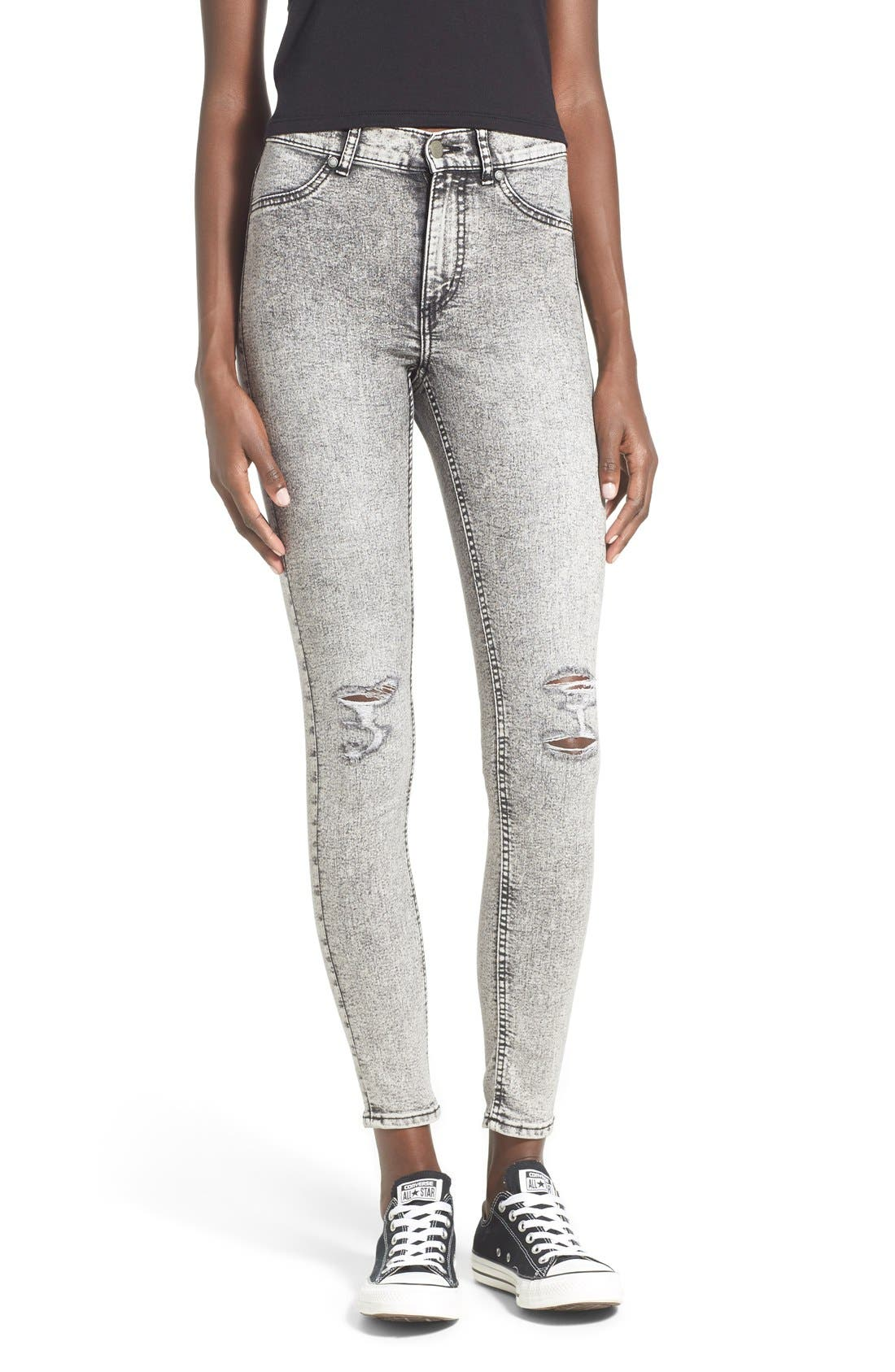 Main Image - Cheap Monday 'High Spray' Distressed High Rise Skinny Jeans (Master Grey)