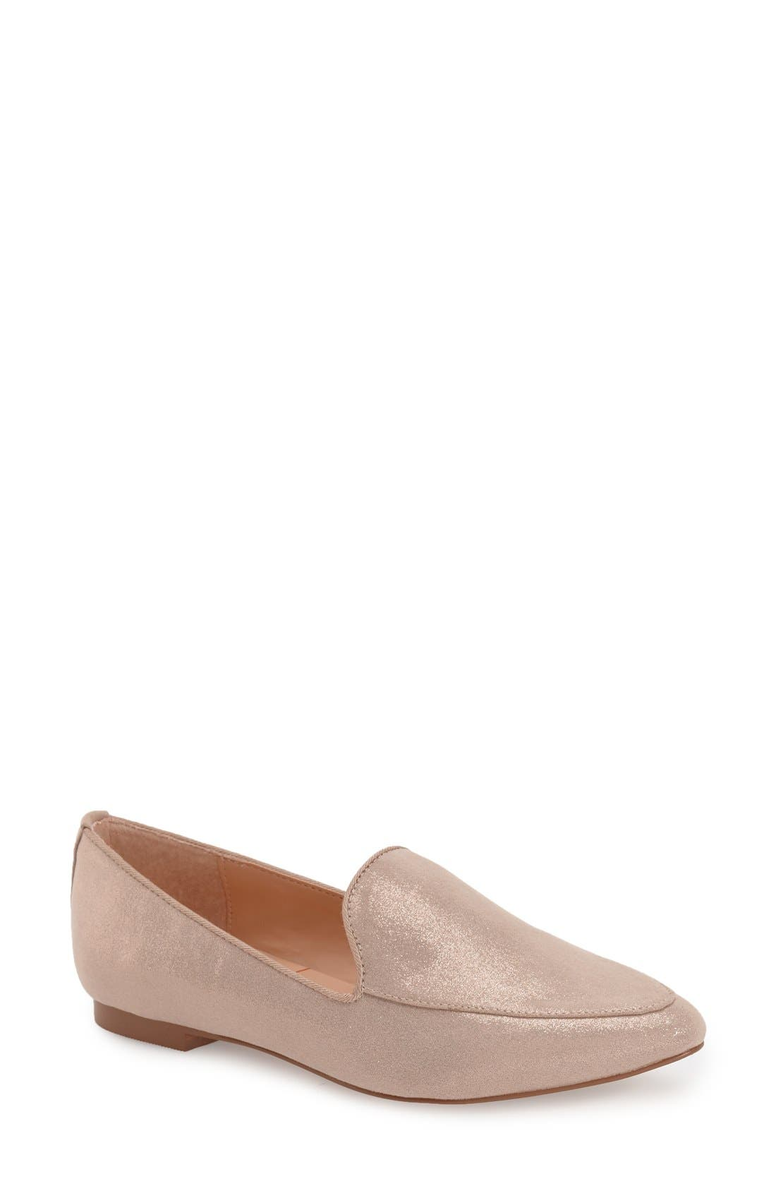 'Sean' Pointy Toe Loafer,                             Main thumbnail 1, color,                             Nude Metallic