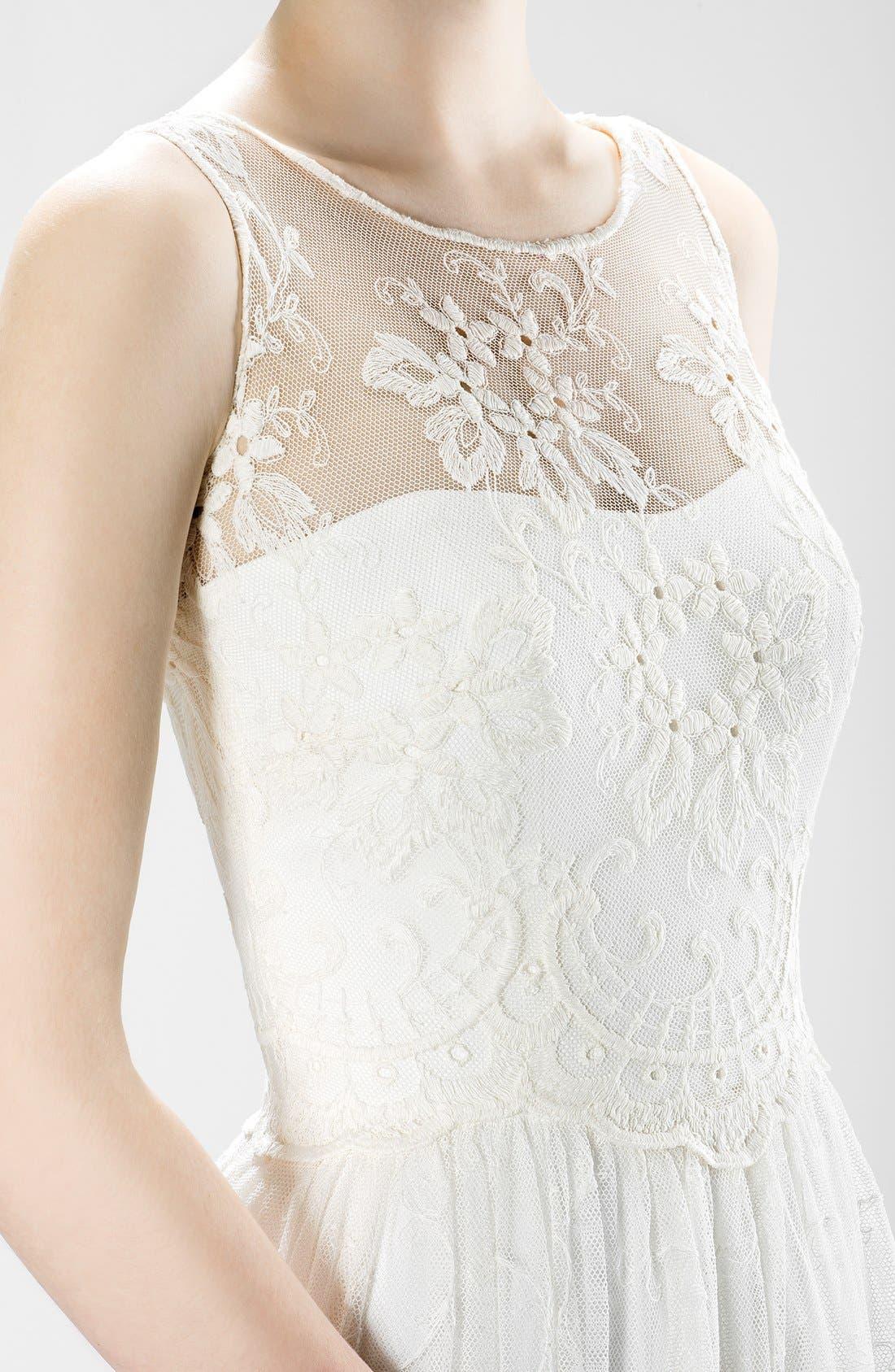 Illusion Lace Boho Dress,                             Alternate thumbnail 3, color,                             Ivory