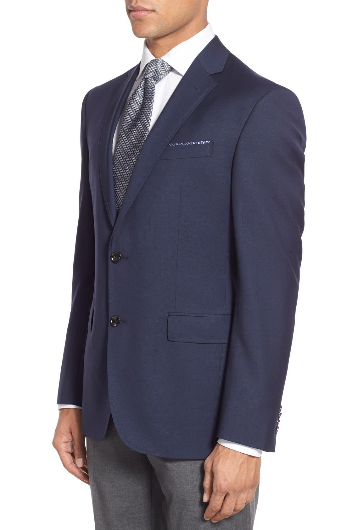 Trevi Trim Fit Wool Blazer,                             Alternate thumbnail 3, color,                             Navy