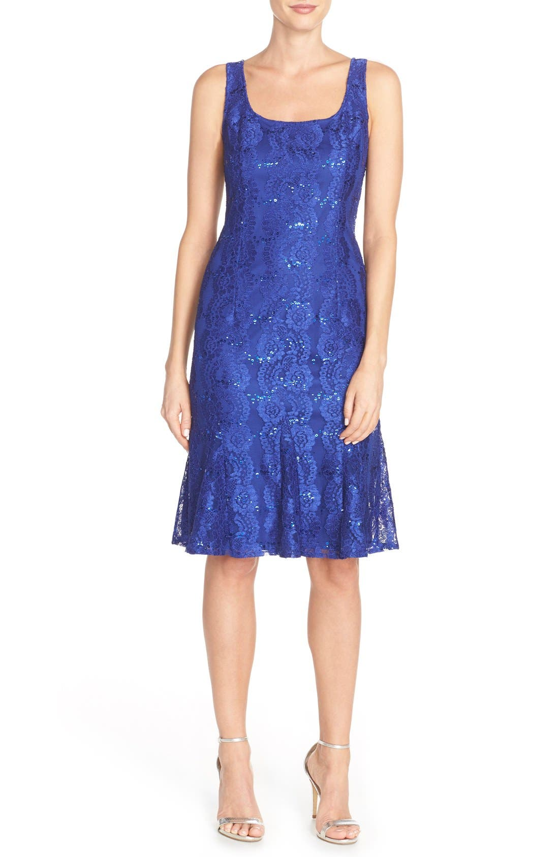 Alternate Image 1 Selected - Alex Evenings Embellished Lace Fit & Flare Dress with Jacket