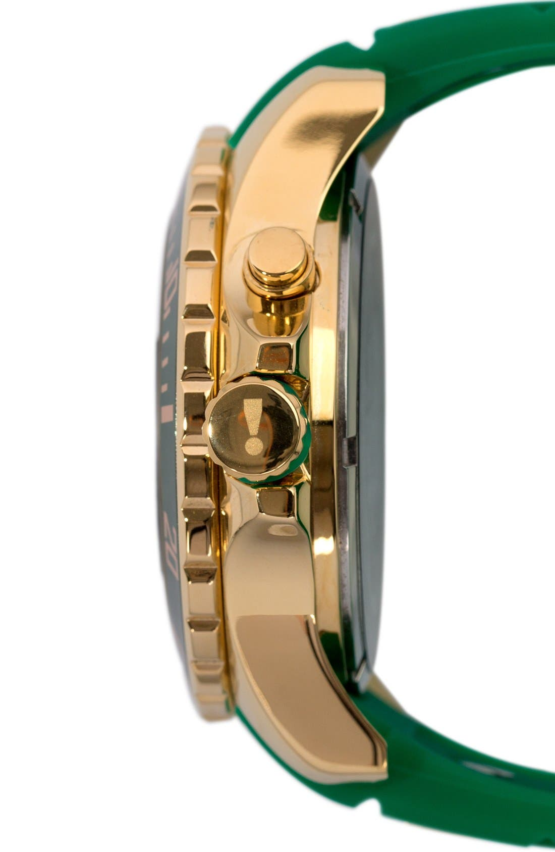 'Emerald' Silicone Strap Watch, 48mm,                             Alternate thumbnail 3, color,                             Emerald/ Gold