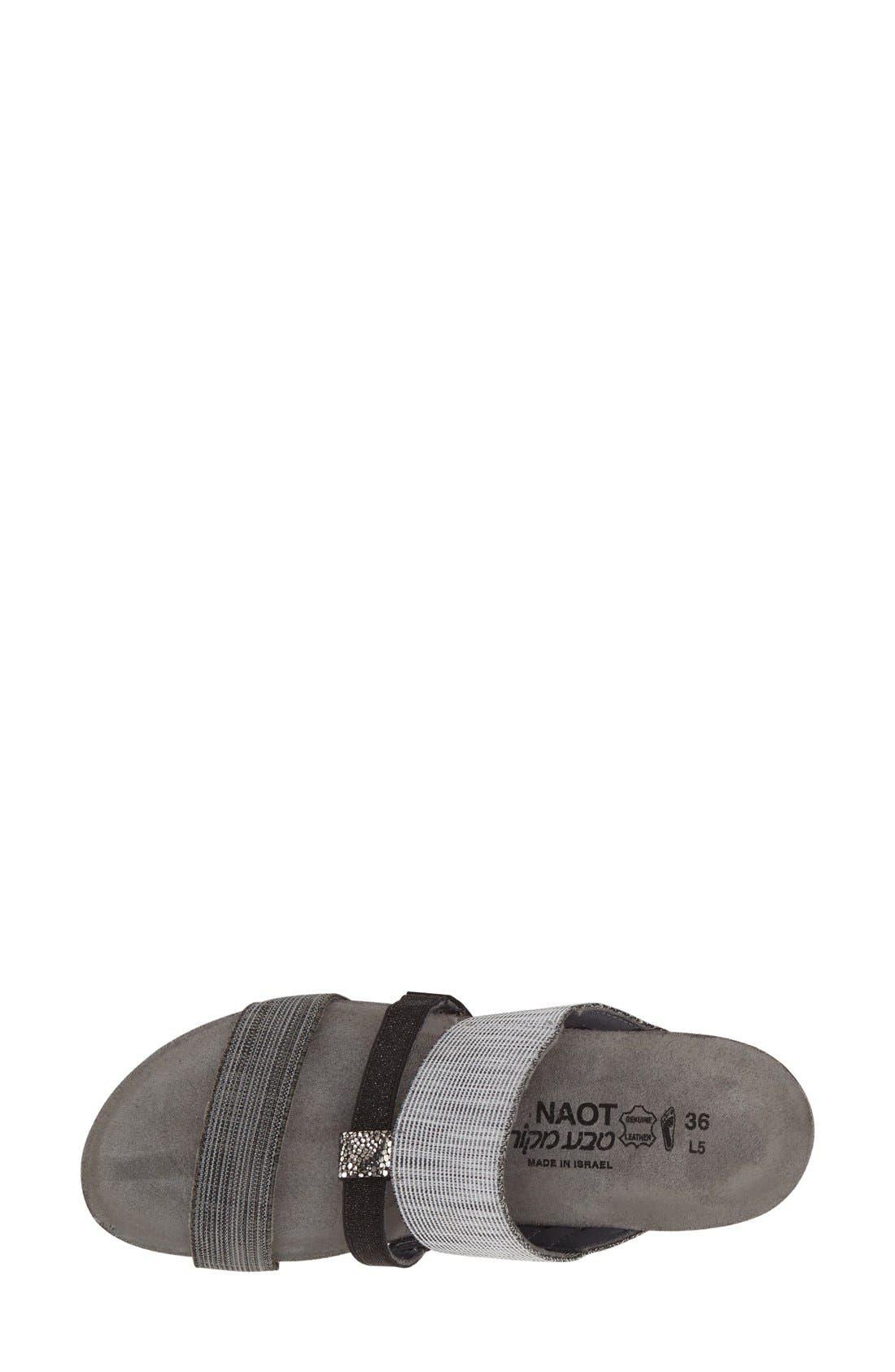 'Brenda' Slip-On Sandal,                             Alternate thumbnail 3, color,                             Grey/ Black Leather Fabric