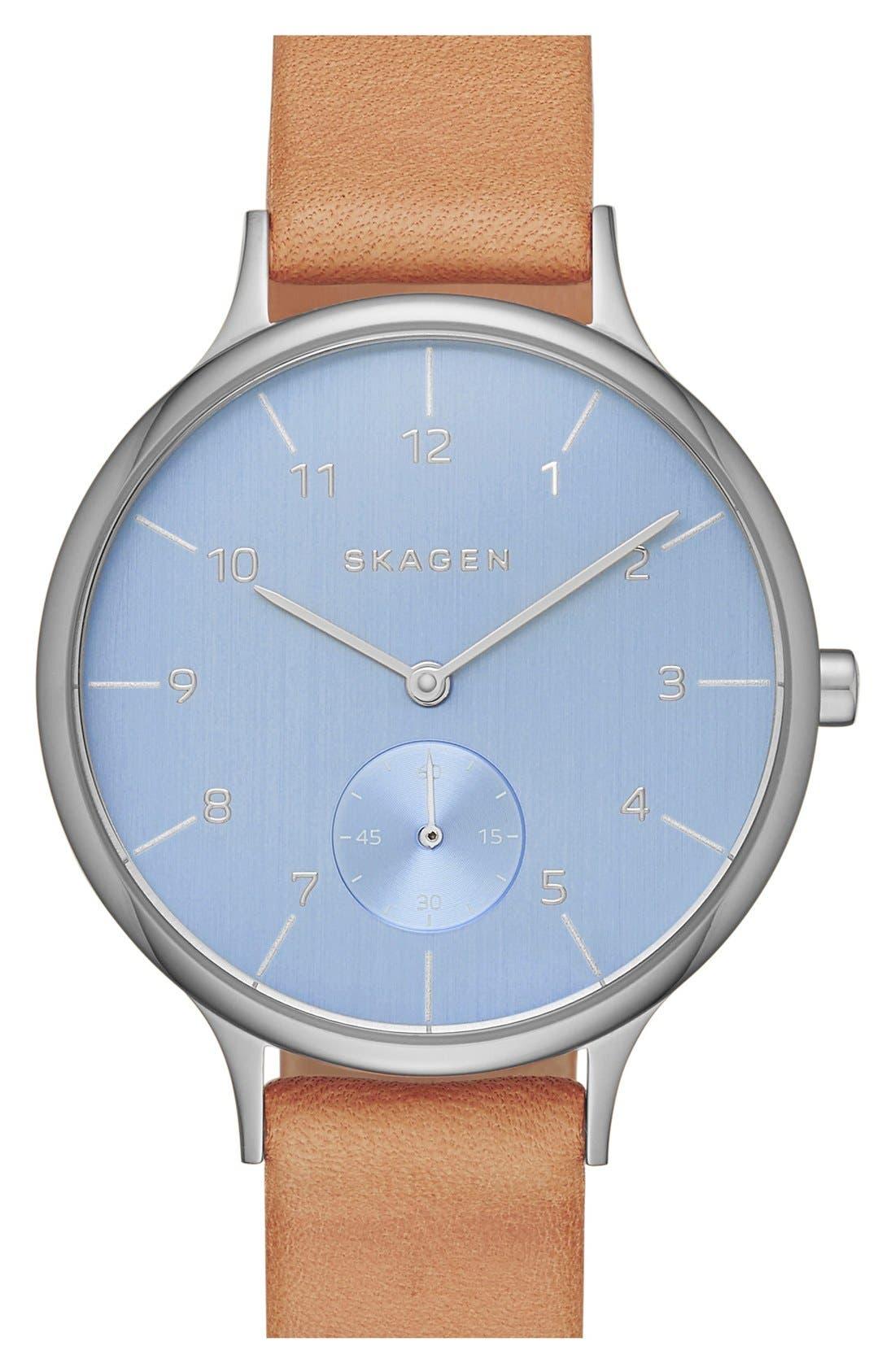 Alternate Image 1 Selected - Skagen 'Anita' Leather Strap Watch, 34mm