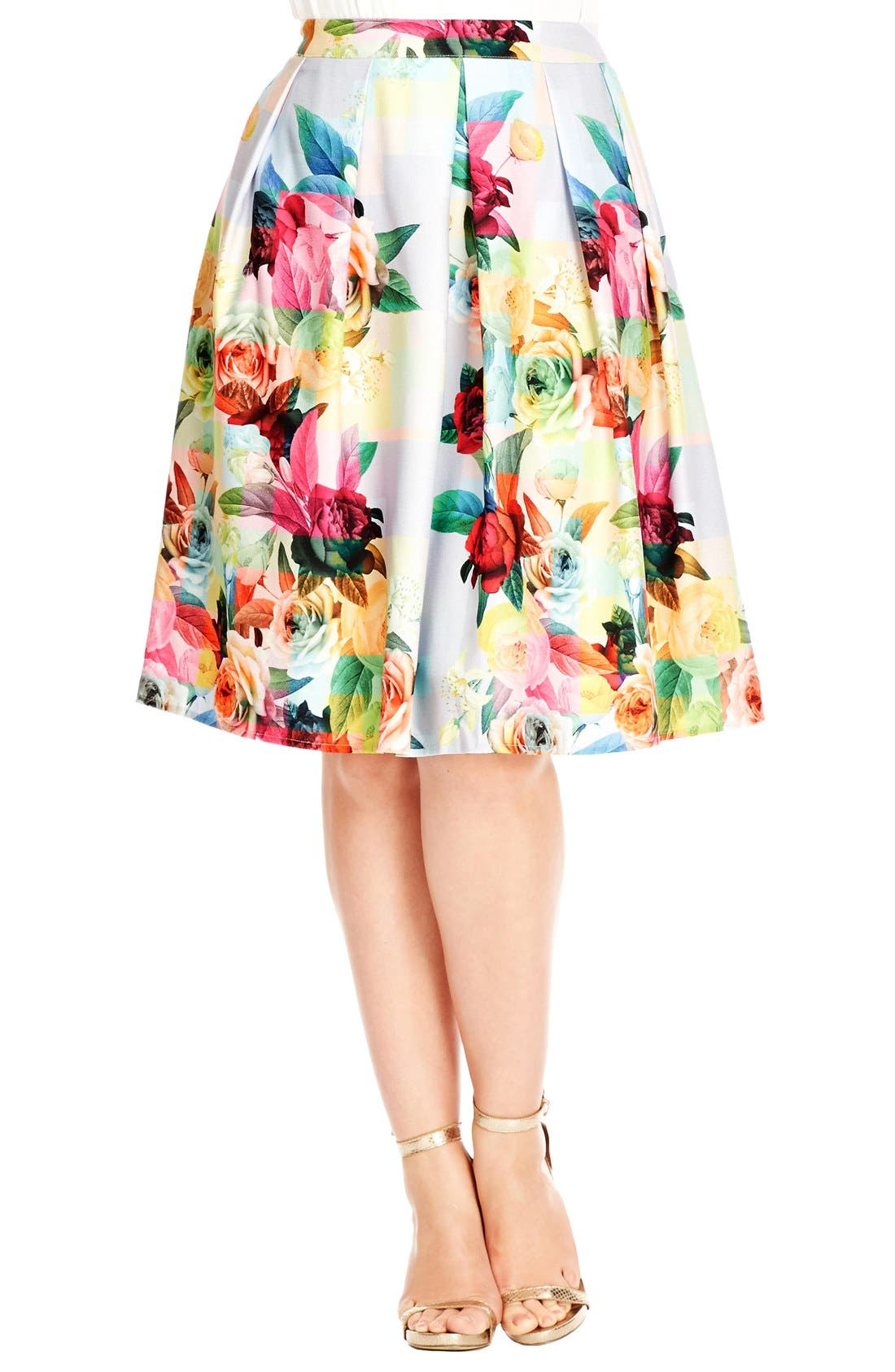 City Chic Geo Floral Print Skirt (Plus Size)