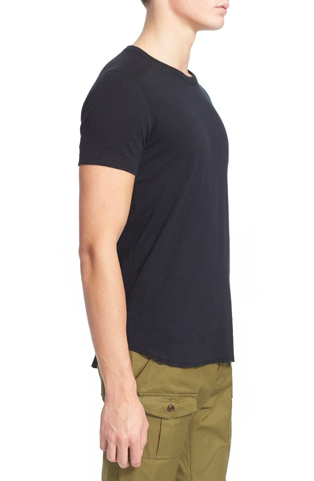 Ribbed Slub Cotton T-Shirt,                             Alternate thumbnail 3, color,                             Black