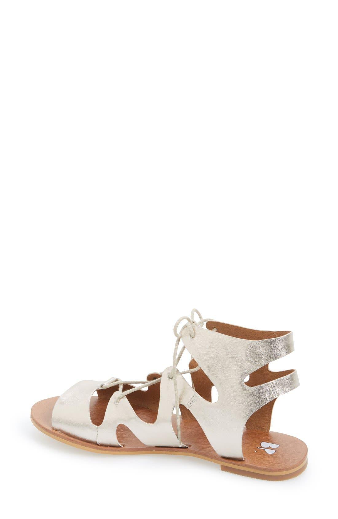 'Alyona' Lace-Up Gladiator Sandal,                             Alternate thumbnail 2, color,                             Platinum Faux Leather