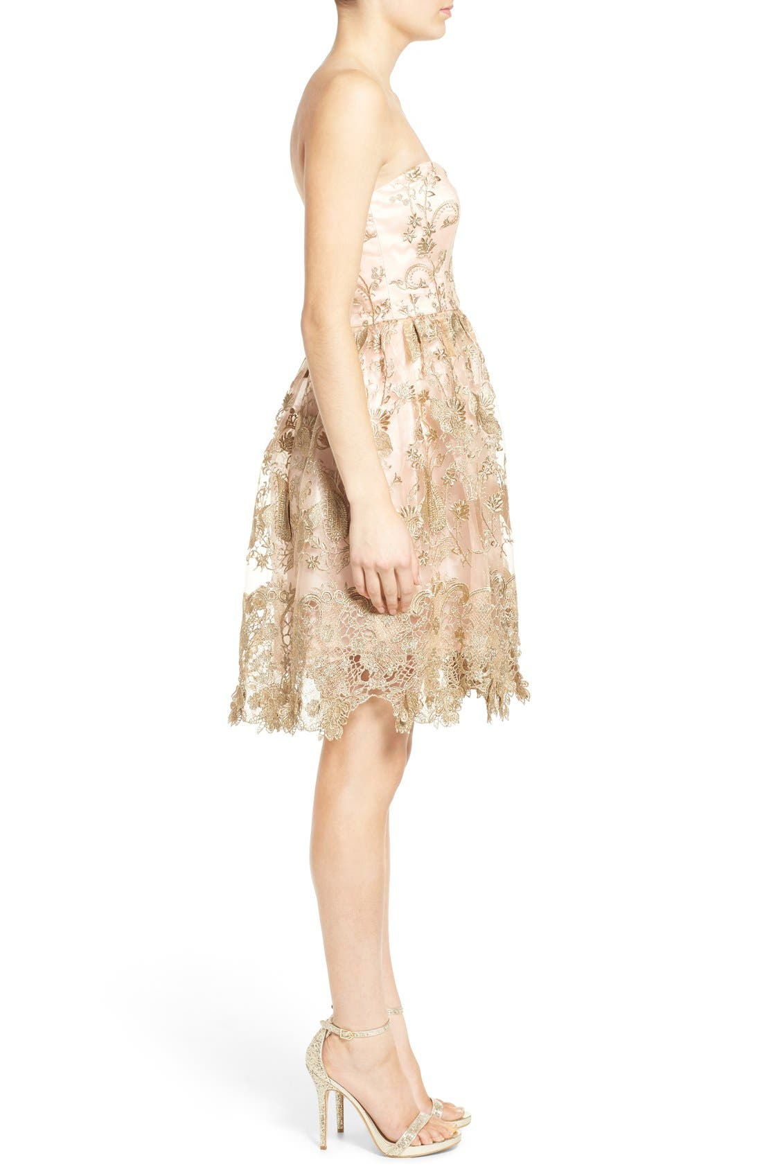 Alternate Image 3  - a. drea Embroidered Lace Strapless Dress