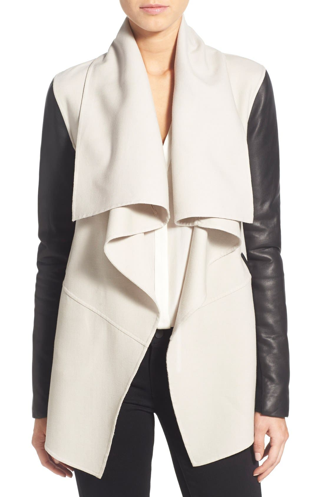 Alternate Image 1 Selected - Mackage Leather Sleeve Wool Blend Drape Collar Coat