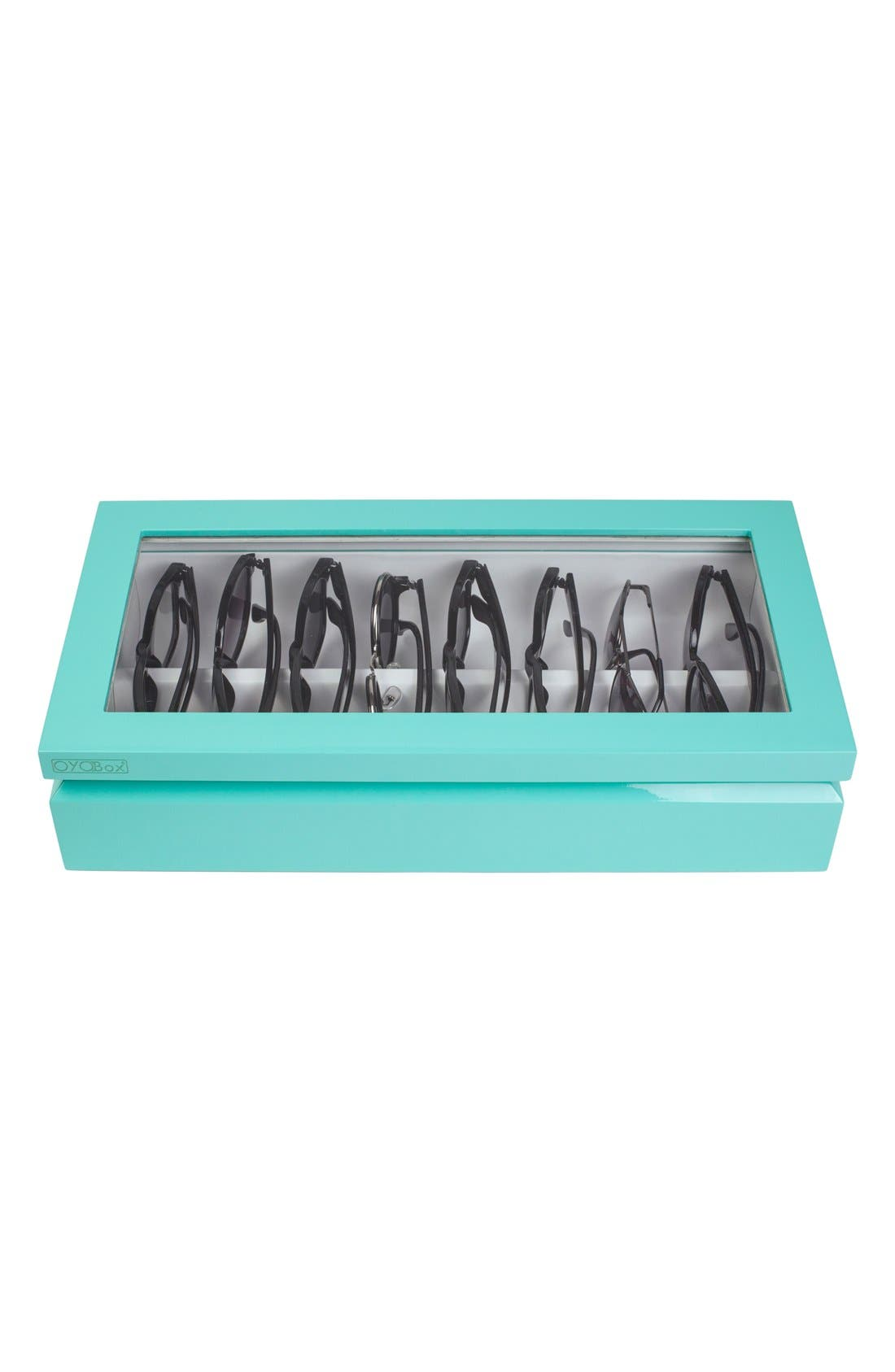 Lacquered Wood Window Top Eyewear Organizer Case,                             Alternate thumbnail 2, color,                             Aqua