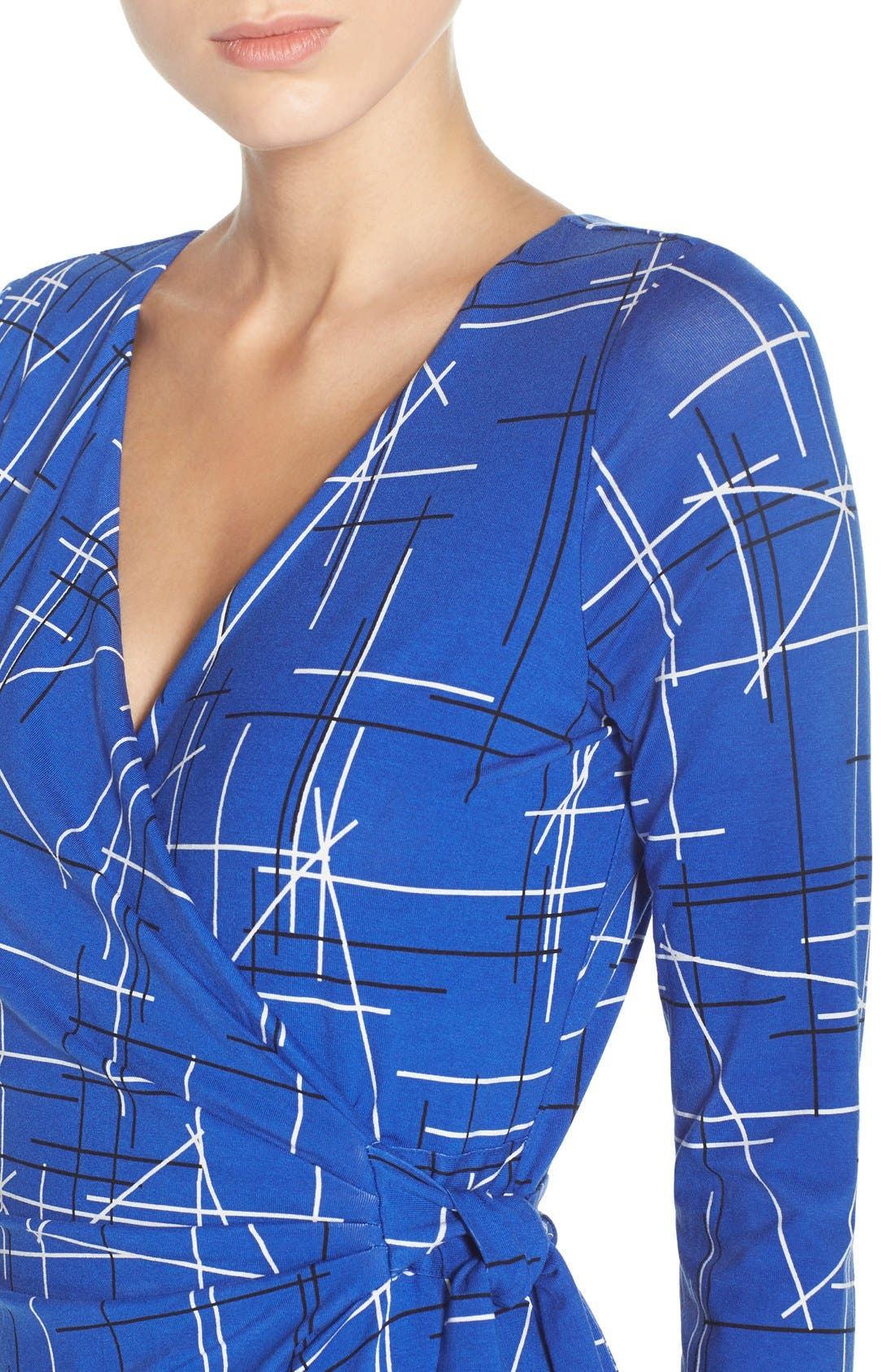Print Faux Wrap Dress,                             Alternate thumbnail 5, color,                             Electric Triangles Print