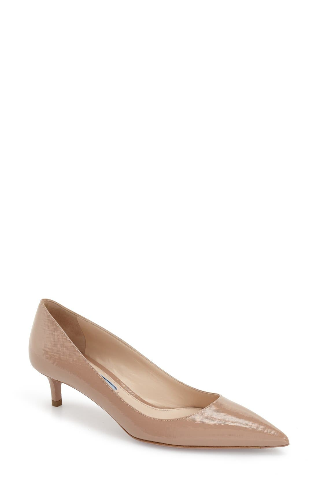 Pointy Toe Pump,                             Main thumbnail 1, color,                             Beige Leather