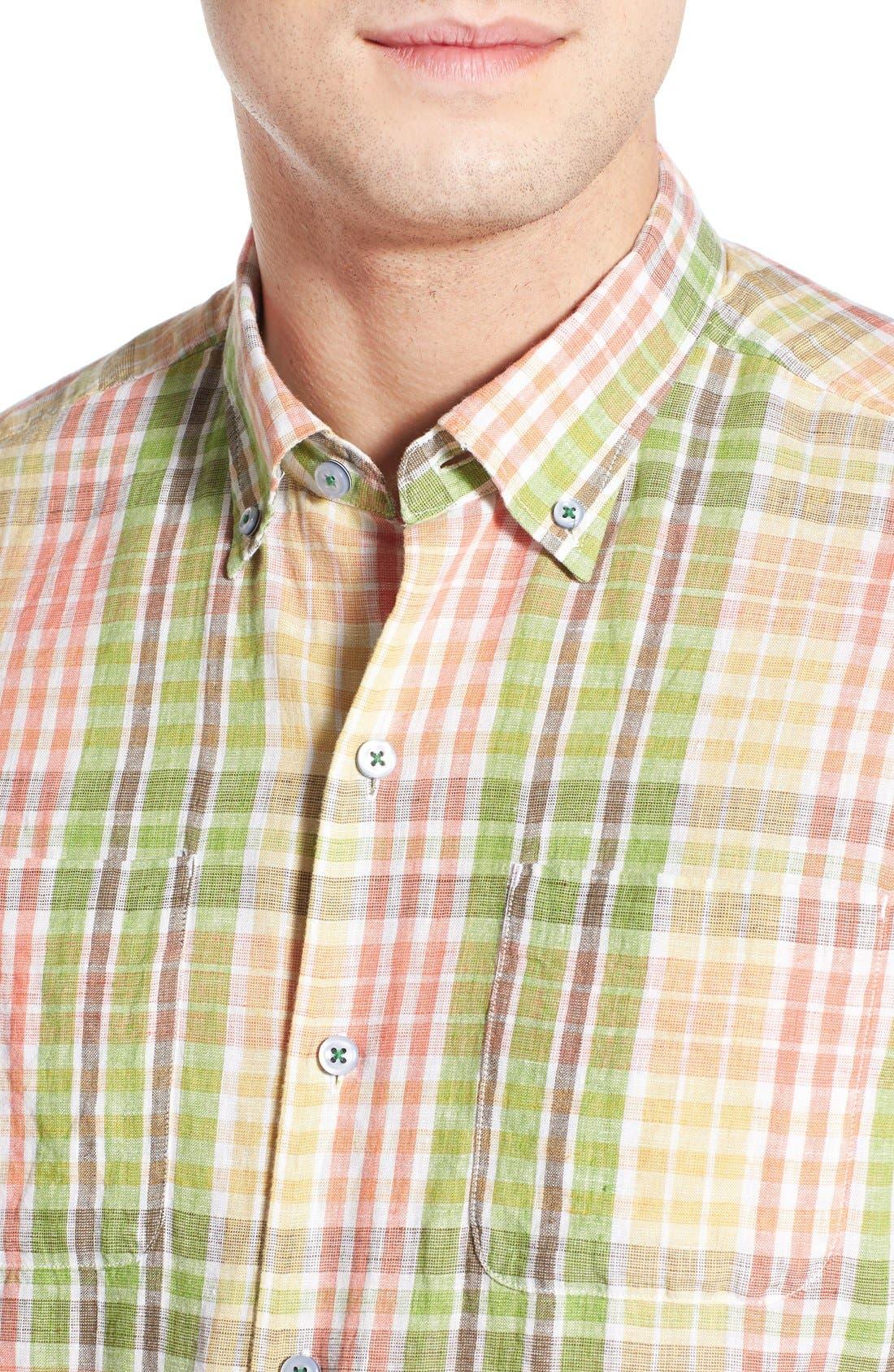 'Sun Direction' Regular Fit Plaid Sport Shirt,                             Alternate thumbnail 4, color,                             Villa Yellow