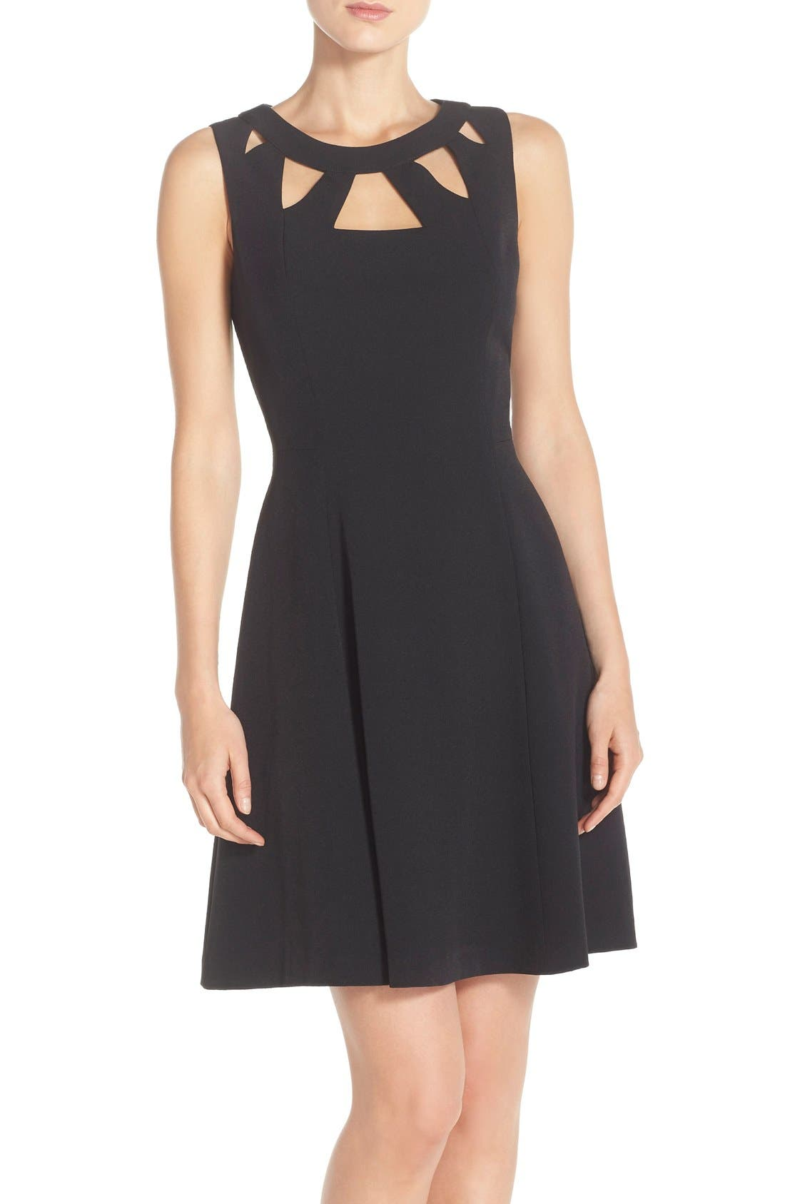 ELIZA J Cutout Crepe Fit & Flare Dress