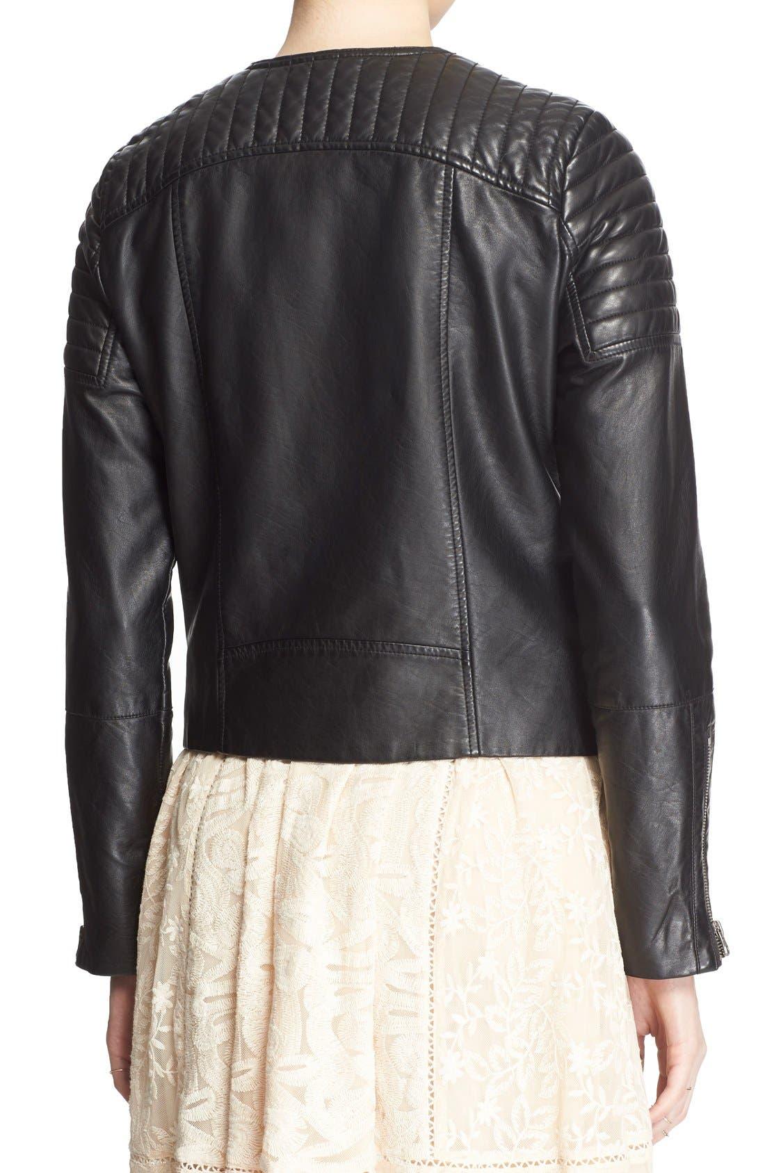 'Exclusive' Faux Leather Jacket,                             Alternate thumbnail 2, color,                             Black