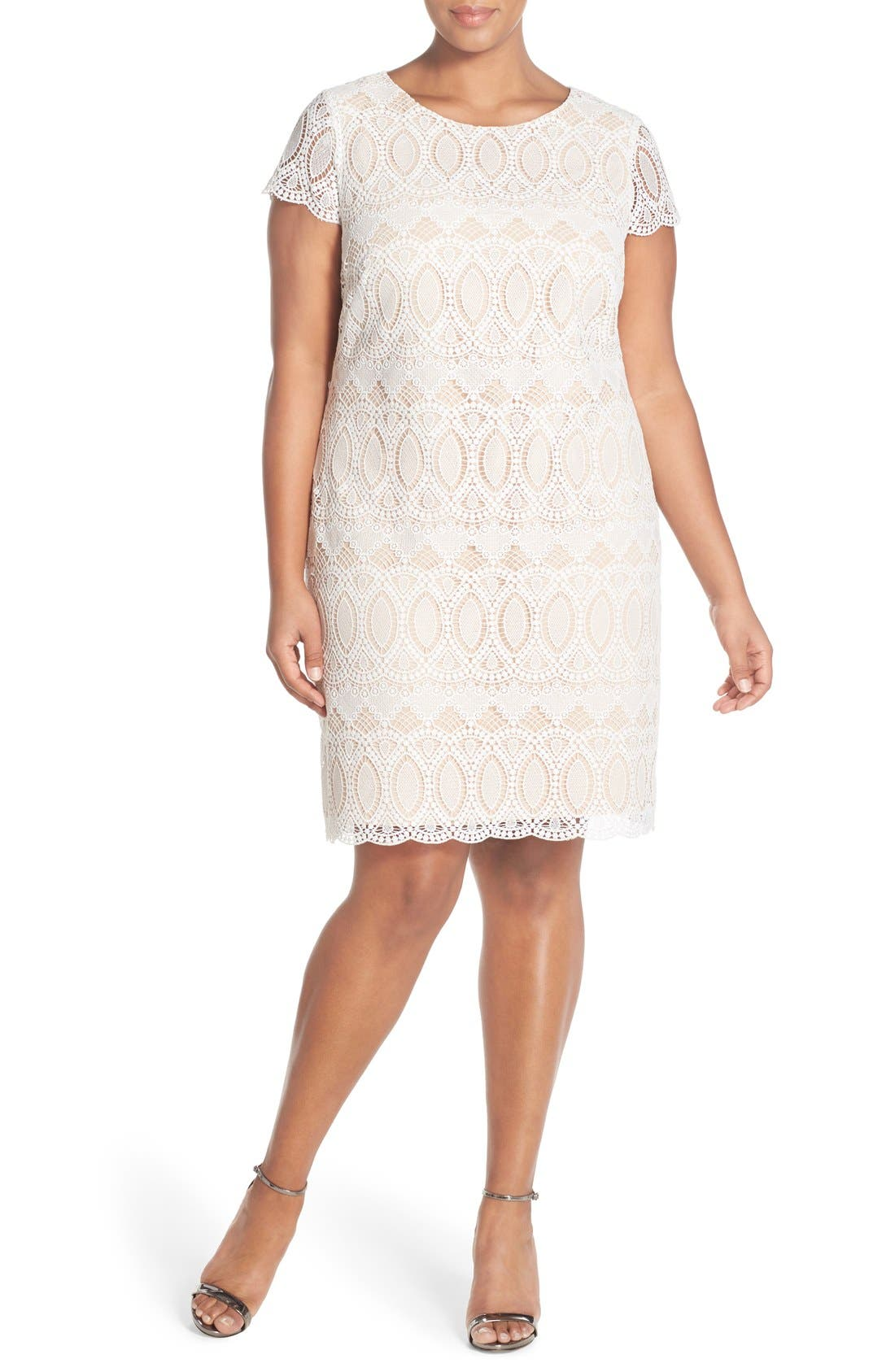 Alternate Image 4  - Eliza J Cap Sleeve Lace Shift Dress (Plus Size)