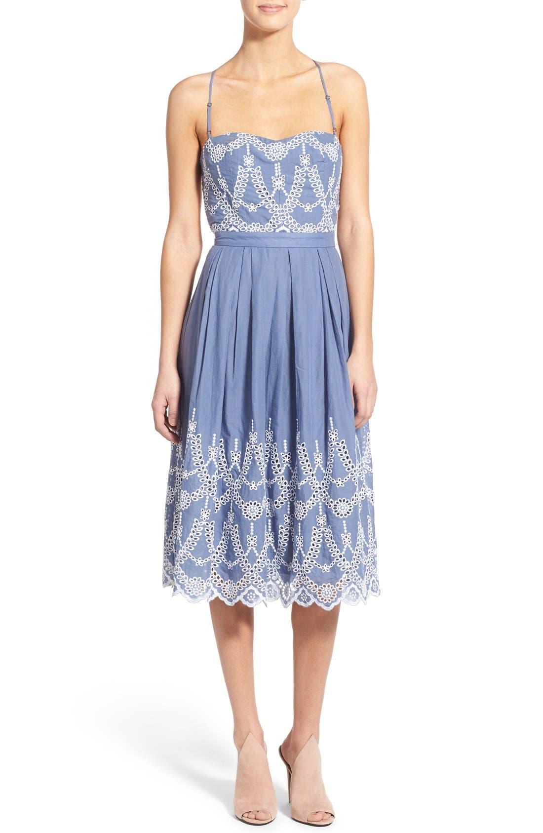 Main Image - KENDALL + KYLIE Cotton Eyelet Halter Dress