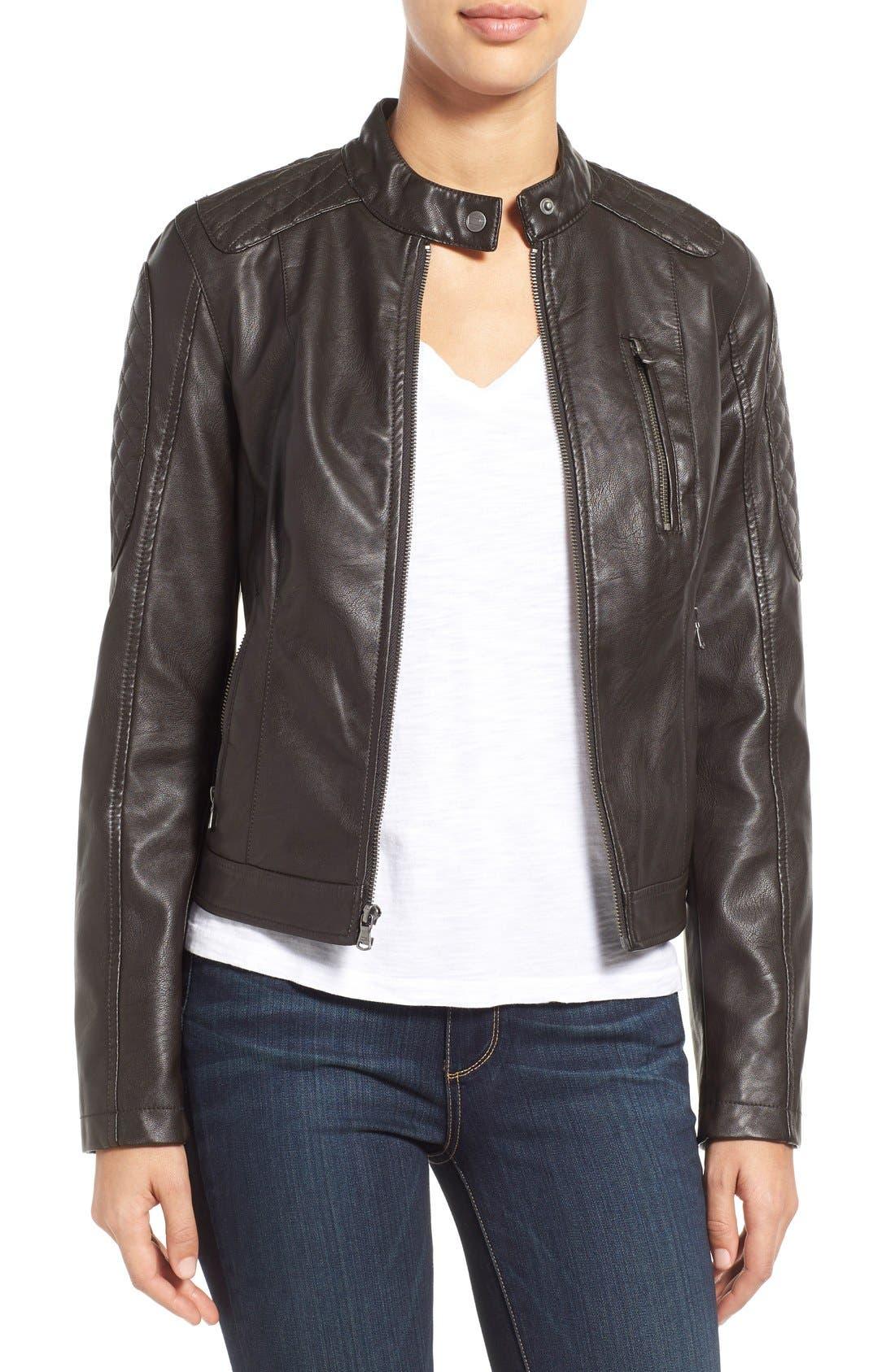 Quilt Detail Faux Leather Racer Jacket,                         Main,                         color, Dark Brown