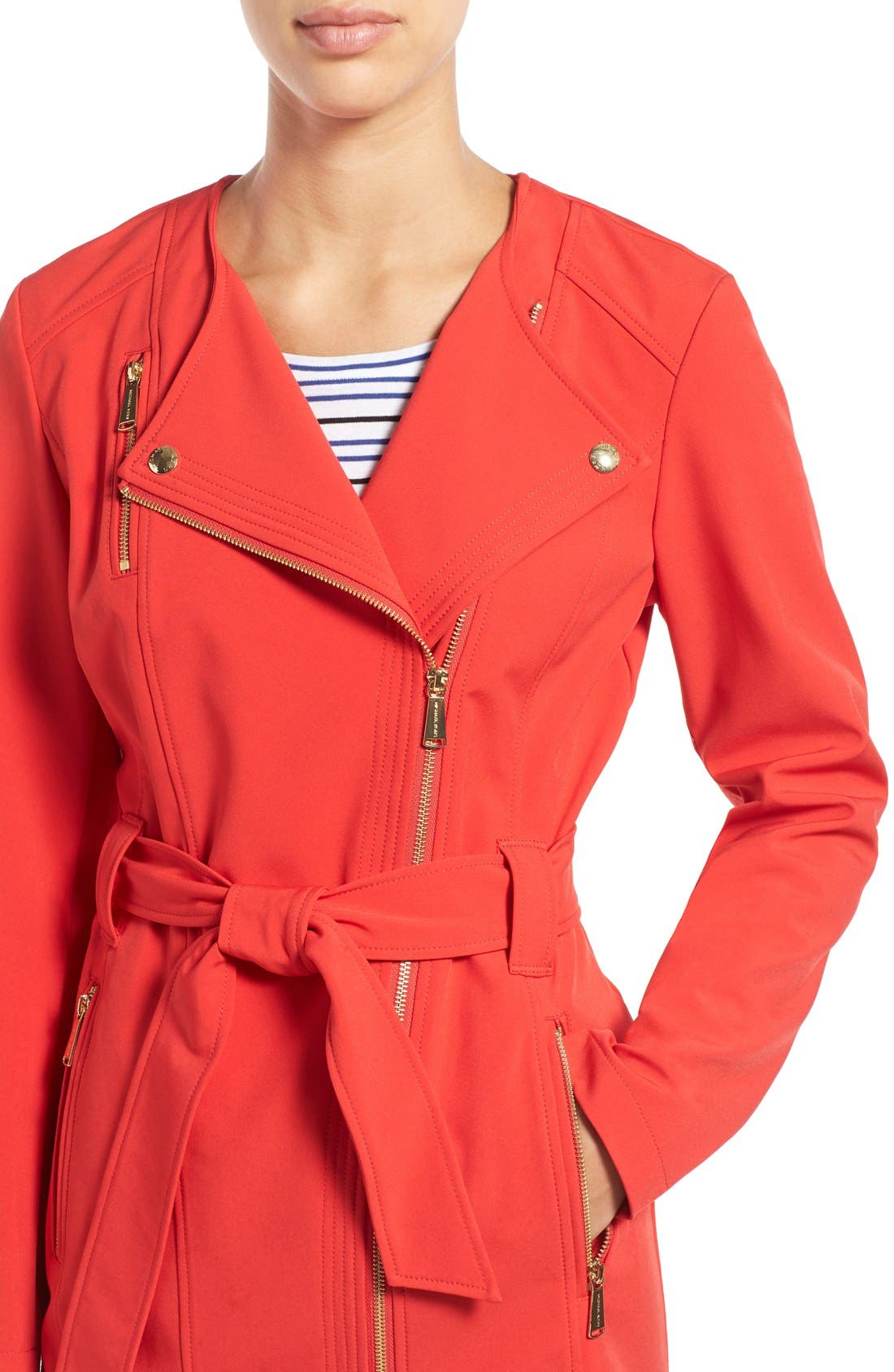 Alternate Image 4  - MICHAEL Michael Kors Asymmetrical Zip Belted Soft Shell Coat