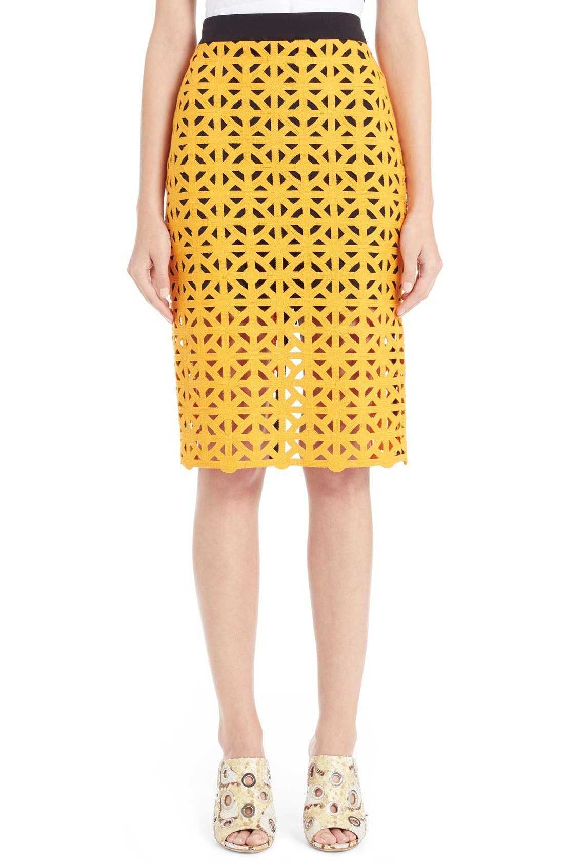 Main Image - MSGM Geometric Cutout Cotton Pencil Skirt