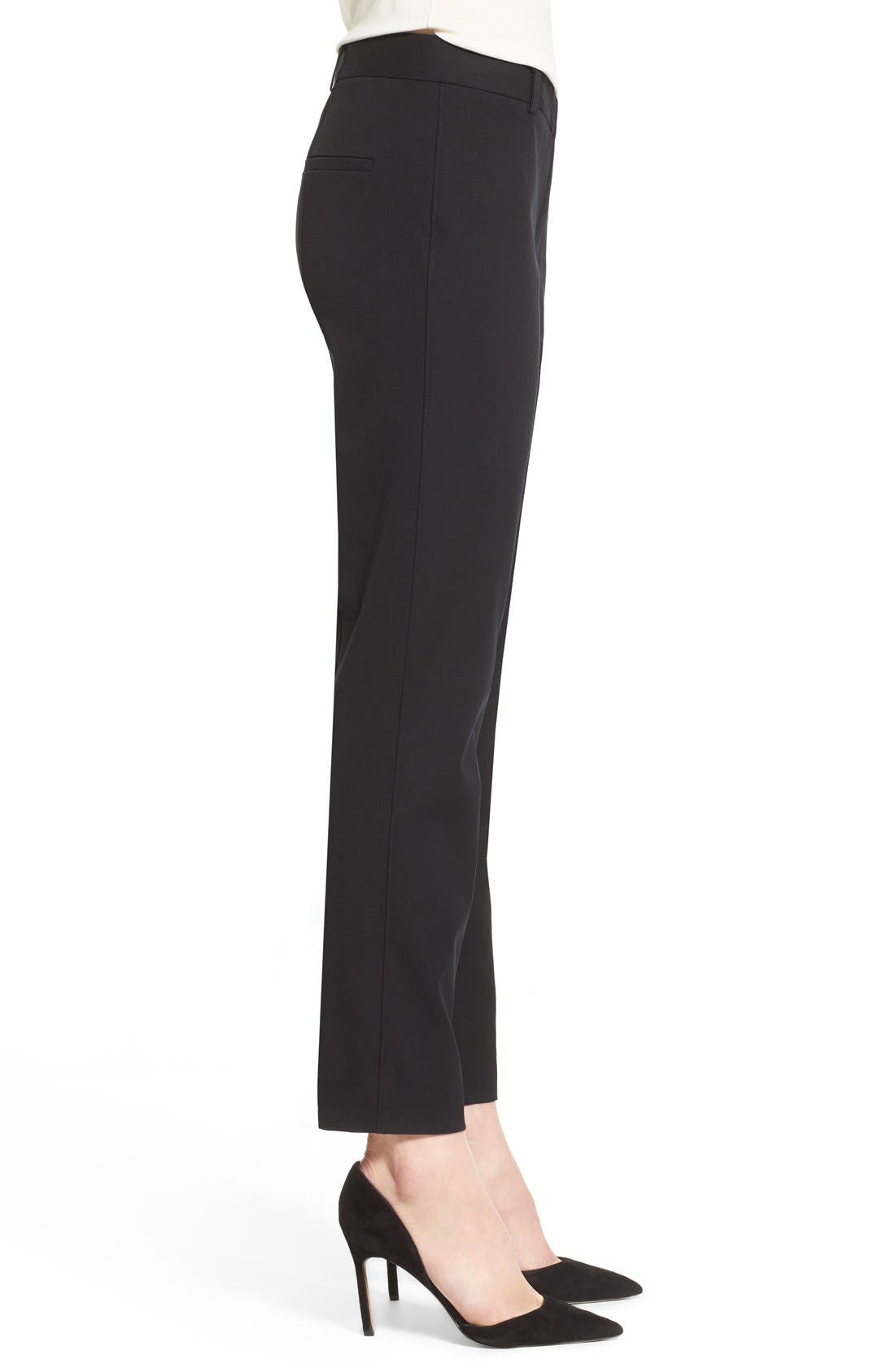 Straight Leg Pants,                             Alternate thumbnail 3, color,                             Black