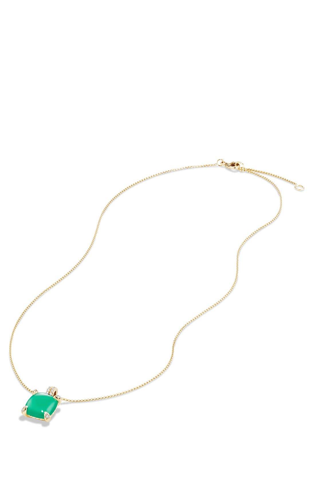 'Châtelaine' Pendant Necklace with Diamonds,                             Alternate thumbnail 3, color,                             Chrysoprase