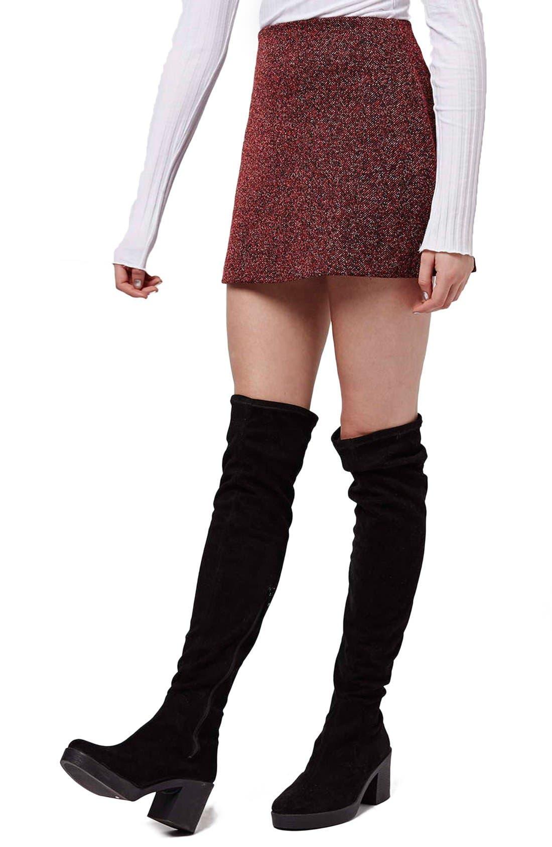 Alternate Image 1 Selected - Topshop Marled Herringbone Miniskirt