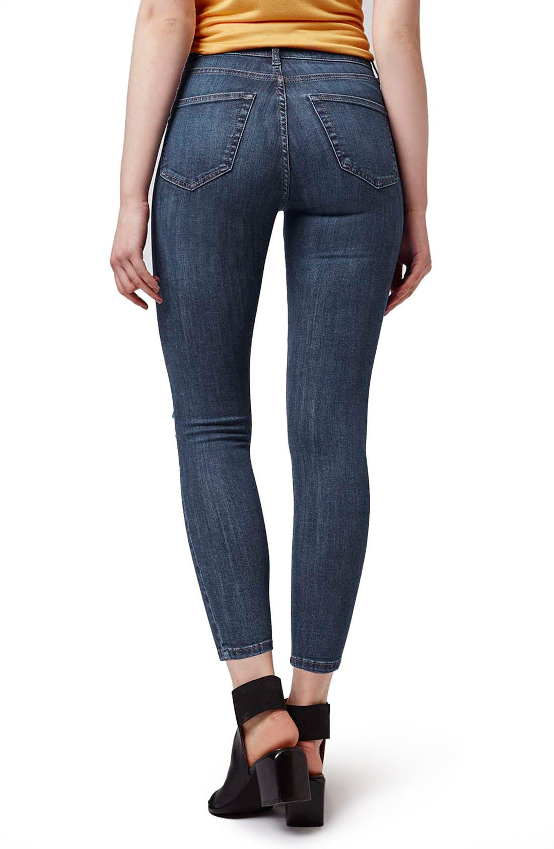 Alternate Image 3  - Topshop 'Jamie' Ripped Crop Skinny Jeans (Navy Blue) (Petite)