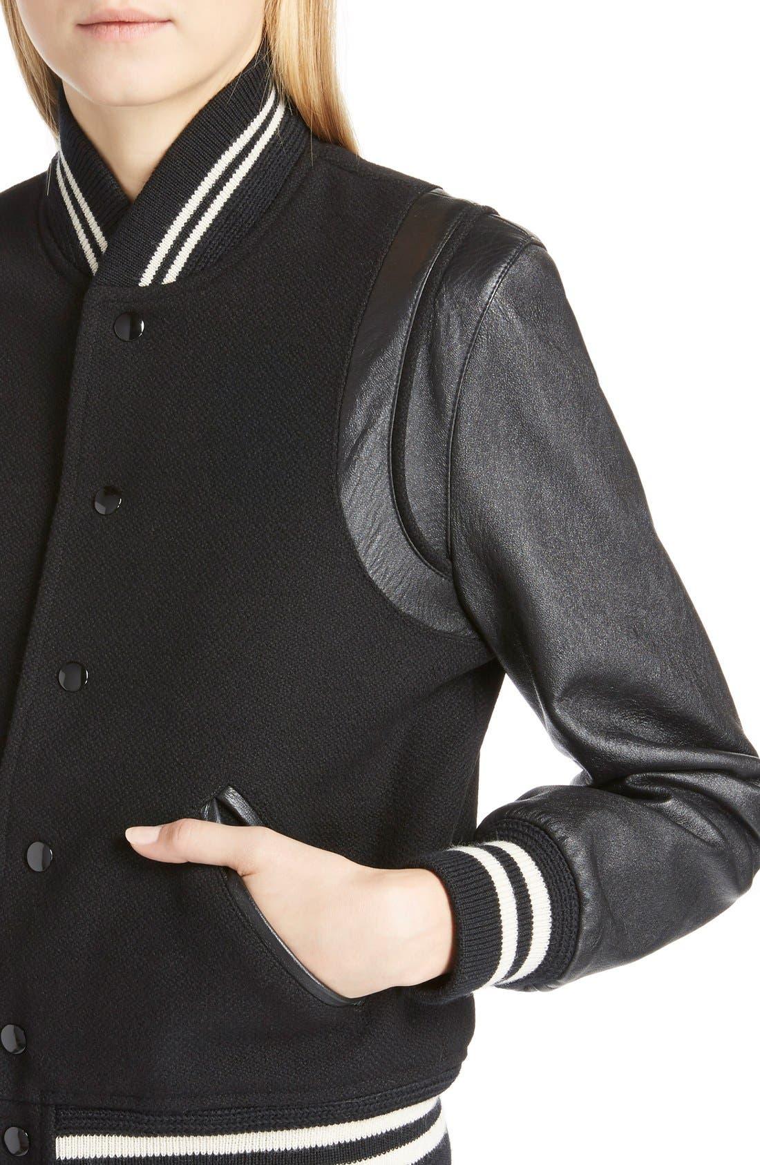 Alternate Image 5  - Saint Laurent 'Teddy' Full Leather Sleeve Bomber Jacket