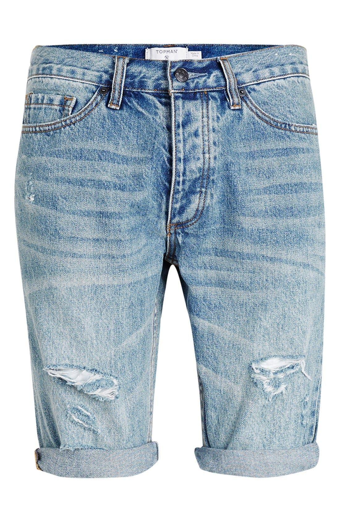 Alternate Image 4  - Topman Ripped Skinny Fit Denim Shorts
