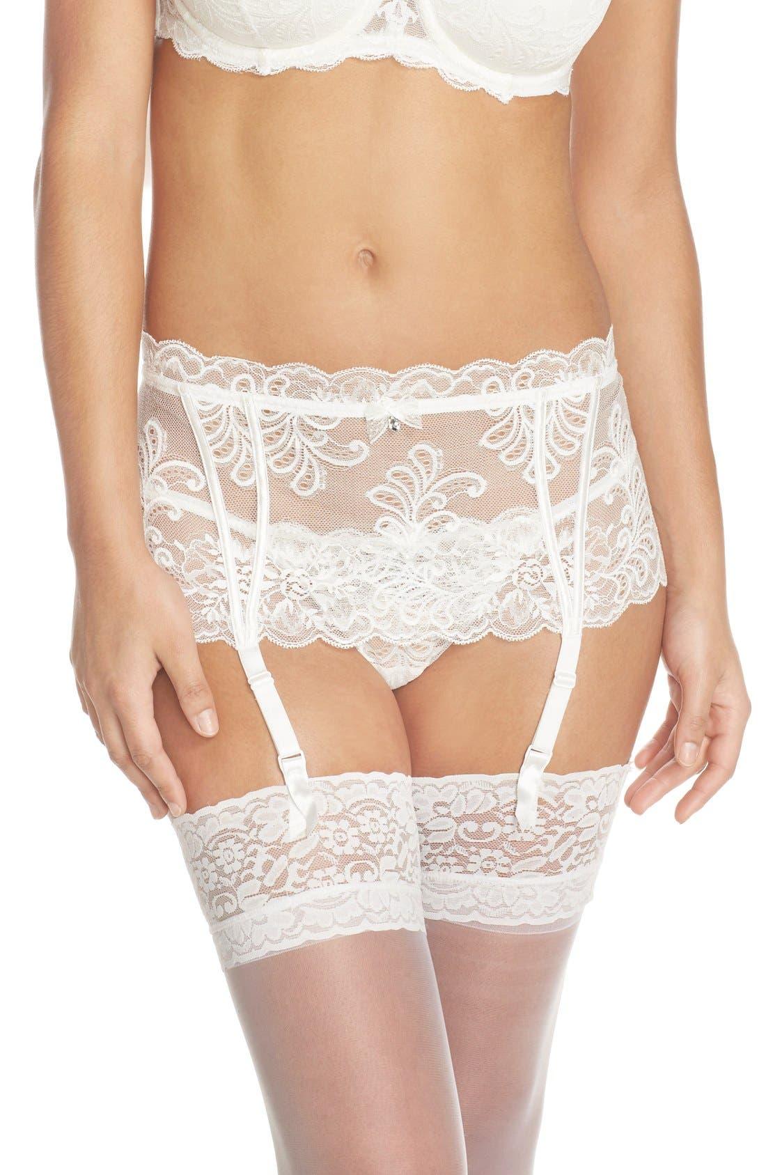 Le Mysère 'Sophia' Lace Garter Belt,                         Main,                         color, Pearl