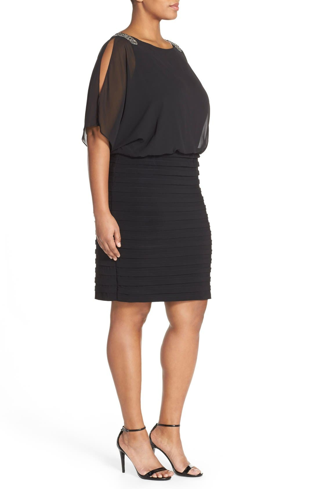 Alternate Image 3  - Xscape Beaded Cold Shoulder Dress (Plus Size)