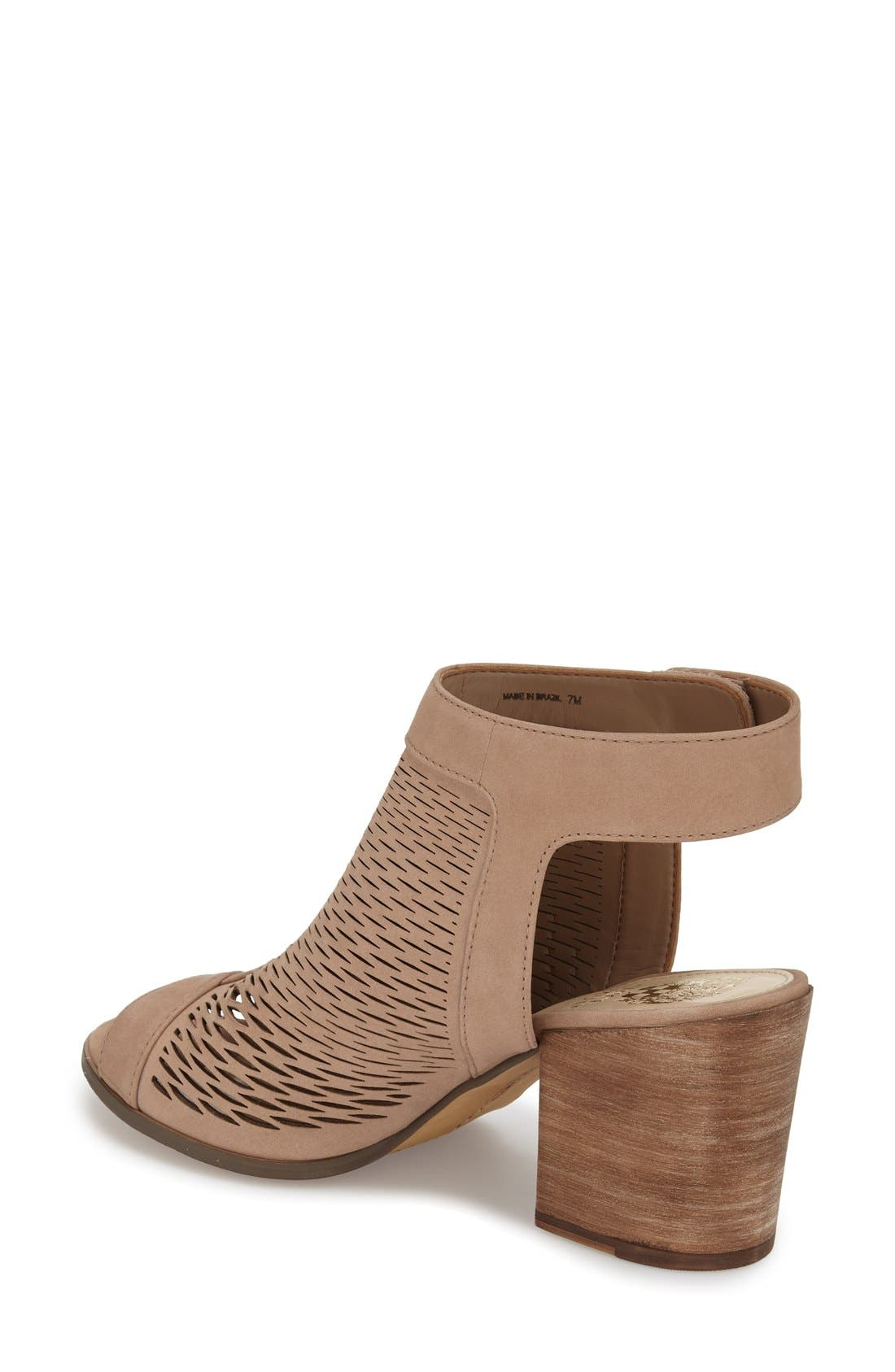 'Lavette' Perforated Peep Toe Bootie,                             Alternate thumbnail 2, color,                             Cashmere